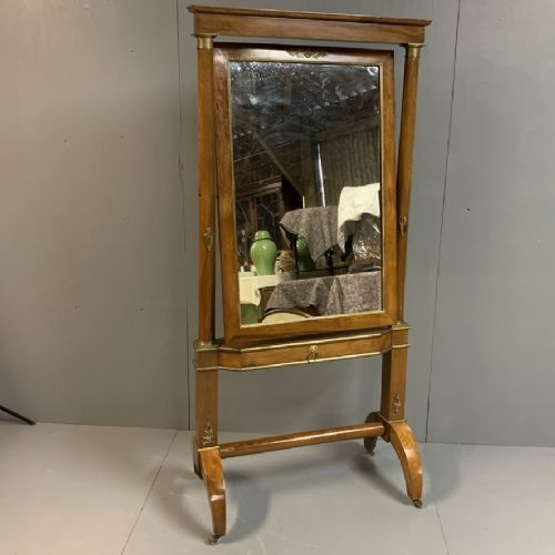 french empire cheval mirror with brass mounts