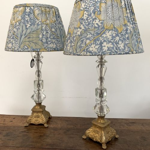 pair of crystal lamps with william morris shades