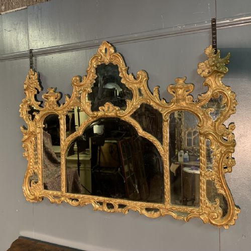 giltwood overmantle mirror with original bevelled glass