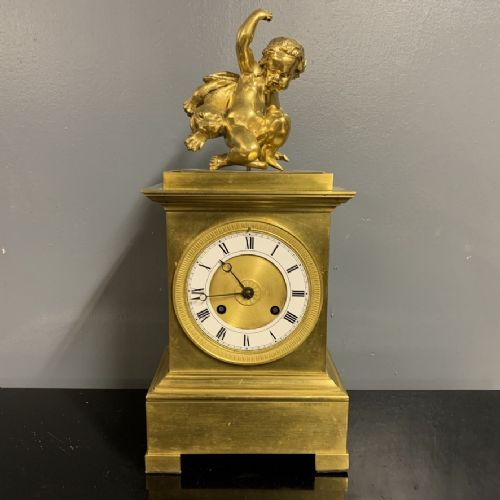 french gilt bronze empire period 8 day mantle clock c1830