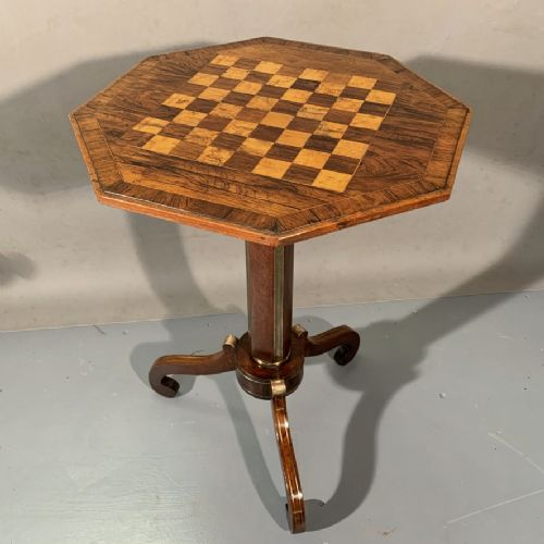 regency period rosewood and brass inlaid tripod table