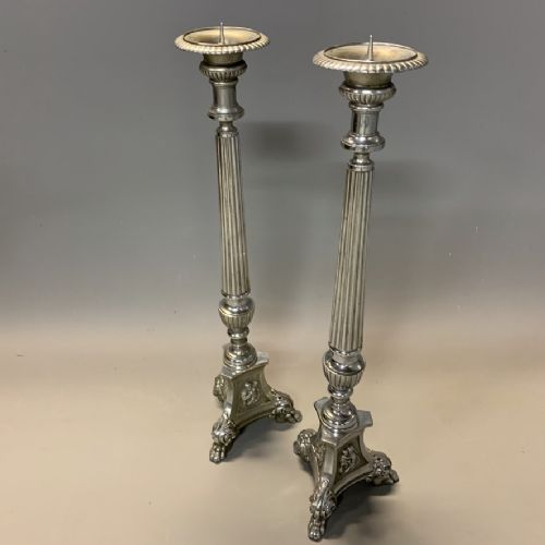 large pair of 78cm silver plated pricket candle sticks