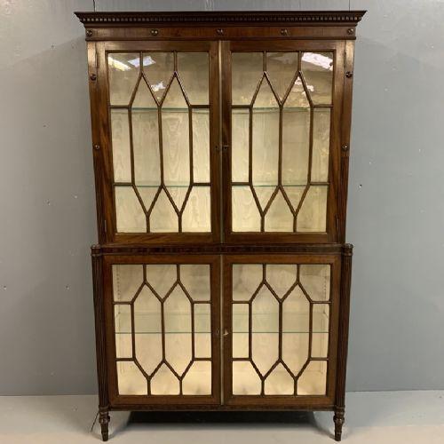 very elegant regency astragal glazed bookcase