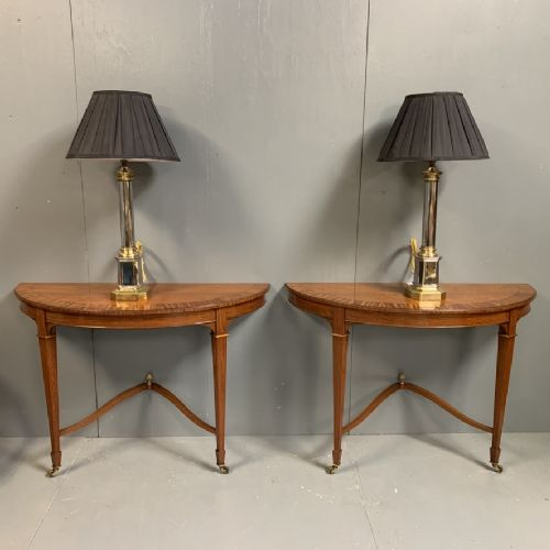 pair of satinwood sheraton style console tables