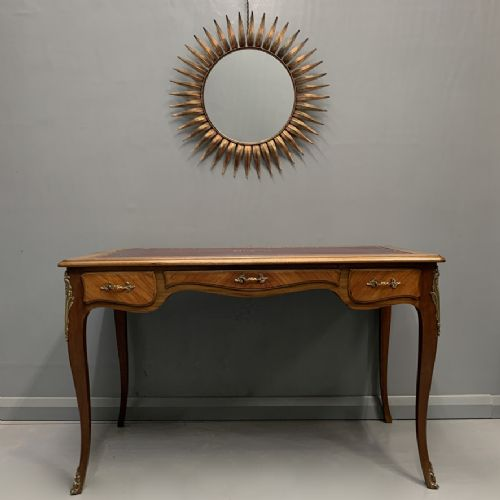 french louis xv style bureau plat with leather top