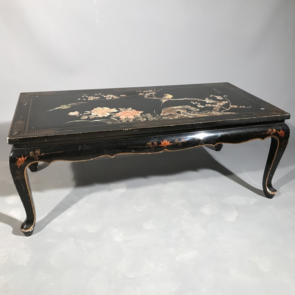 Black Lacquer Coffee Table Uk: Black Lacquered Chinoiserie Coffee Table