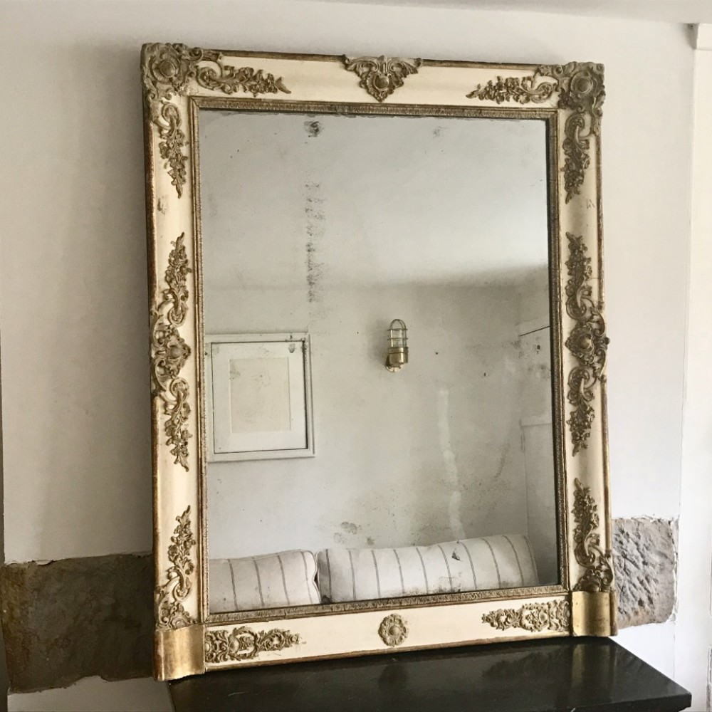c19th french paint and gilt mirror