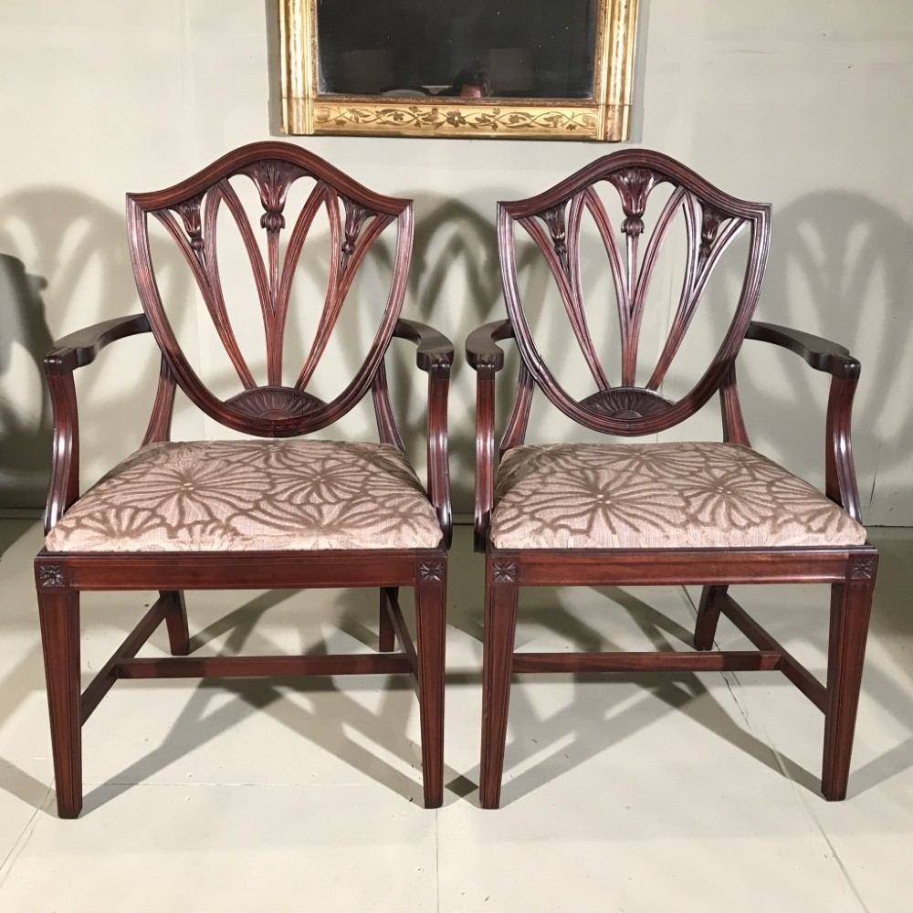 pair of french c19th mahogany carver chairs