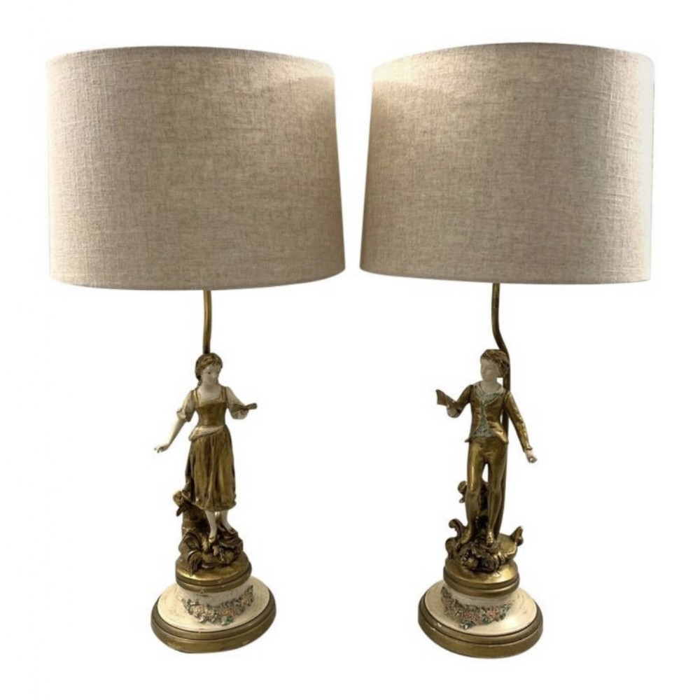 pair of paint and gilded spelter figure lamps