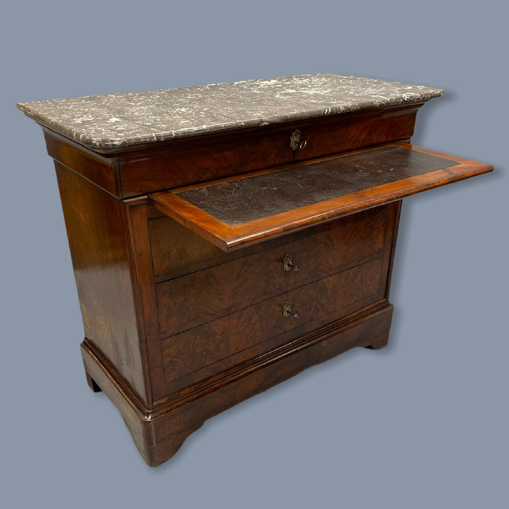 french marble top commode with writing surface
