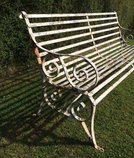 Marvelous Antique Victorian Strap Work 6 Ft Wrought Iron Garden Bench | 288456 |  Sellingantiques.co.uk