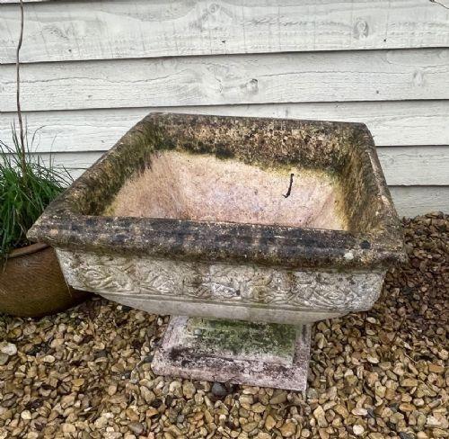 large square stone 2 piece planter on plinth
