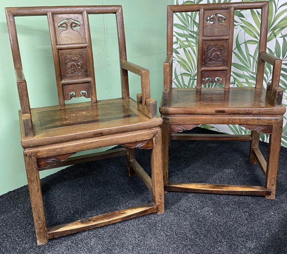 pair chinese late qing dynasty 16441912 carver chairs