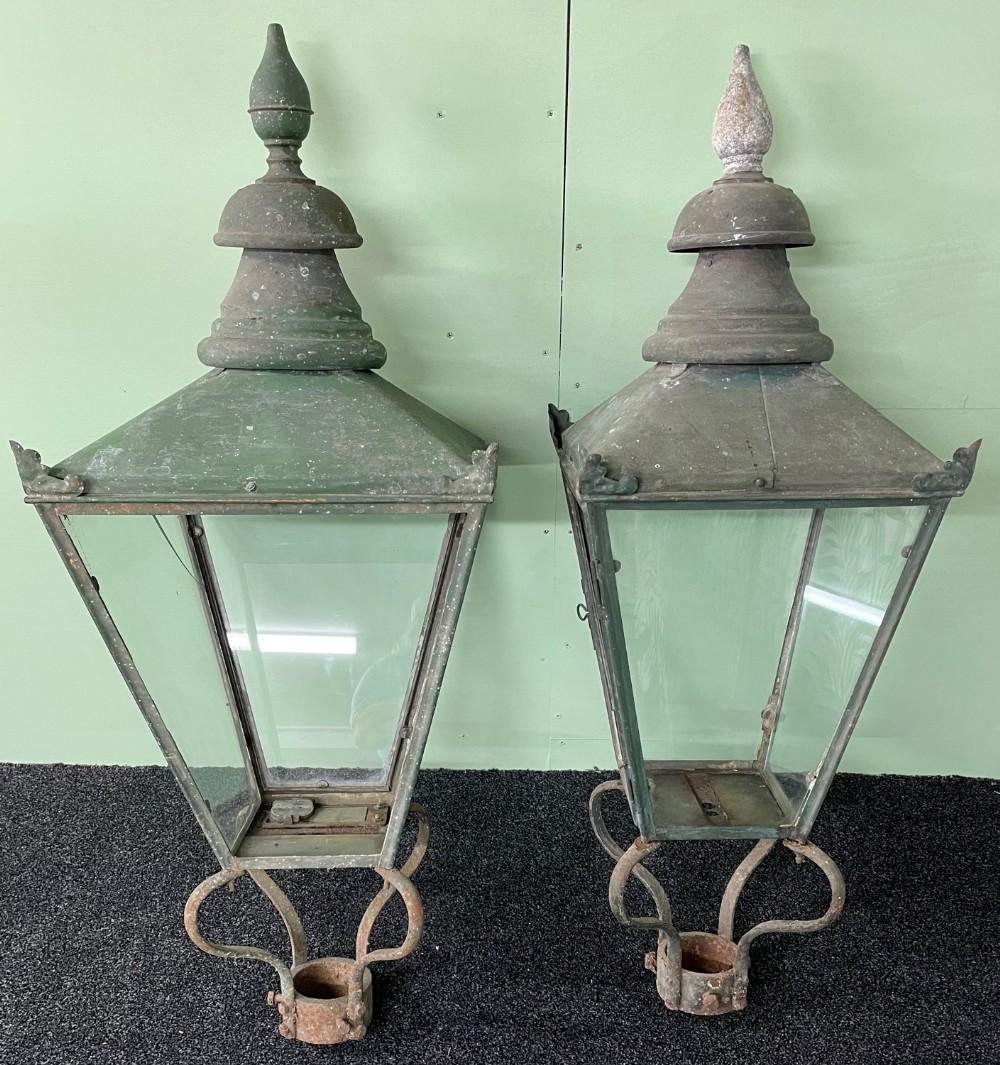 pair large copper street lanterns 19 century
