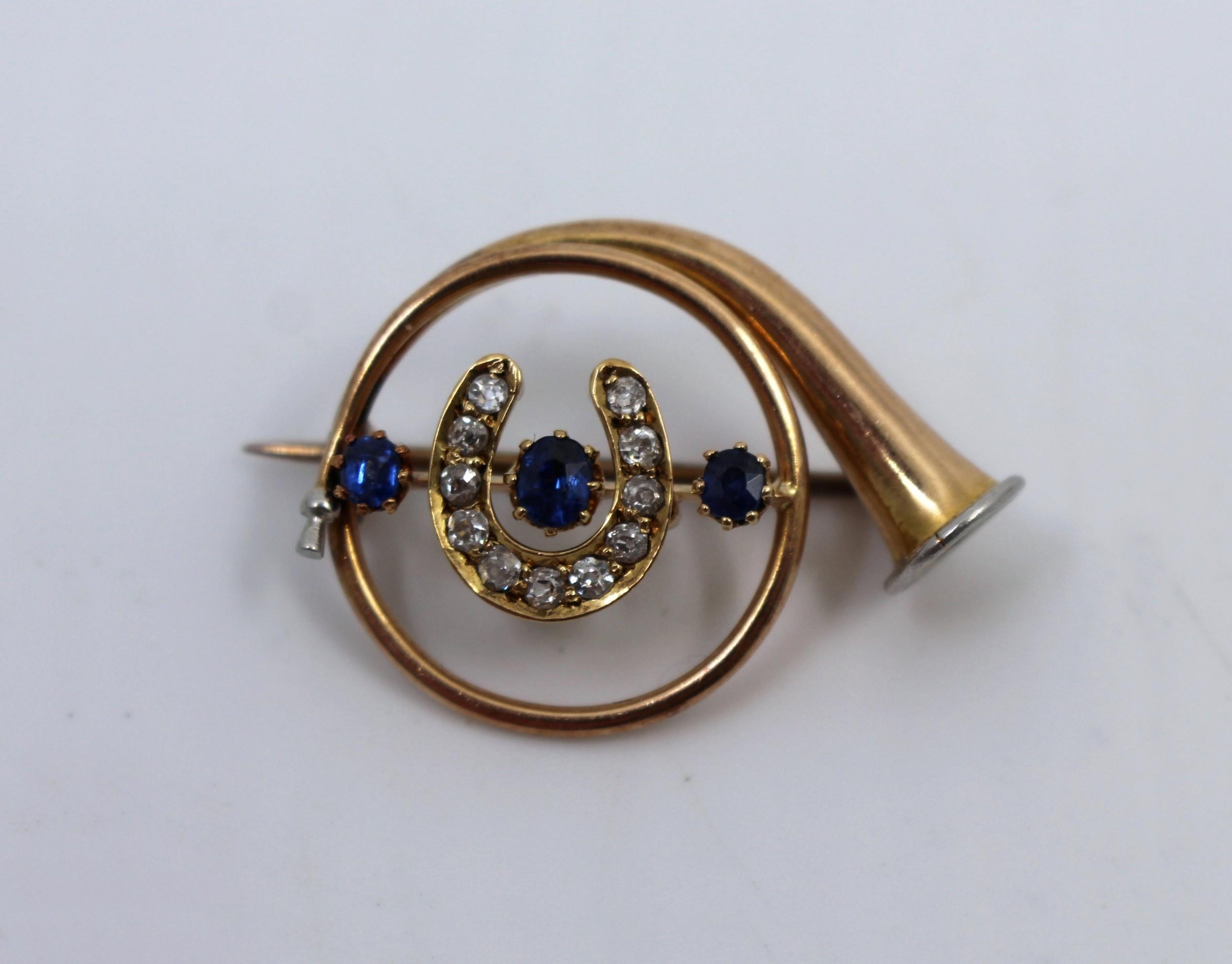 edwardian diamond sapphire gold hunting horn brooch