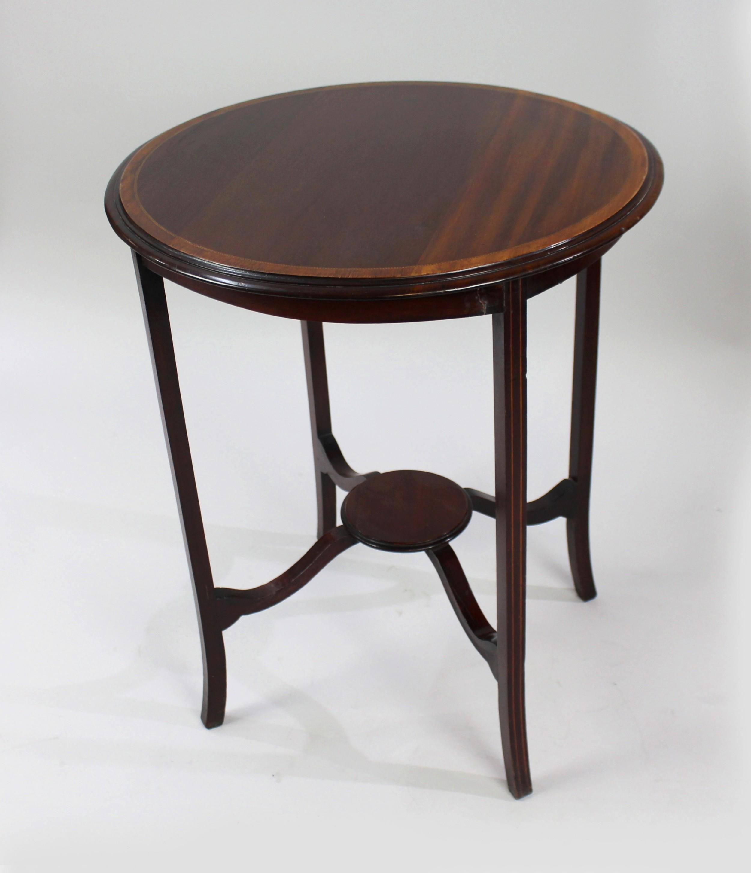 edwardian inlaid mahogany circular lamp table