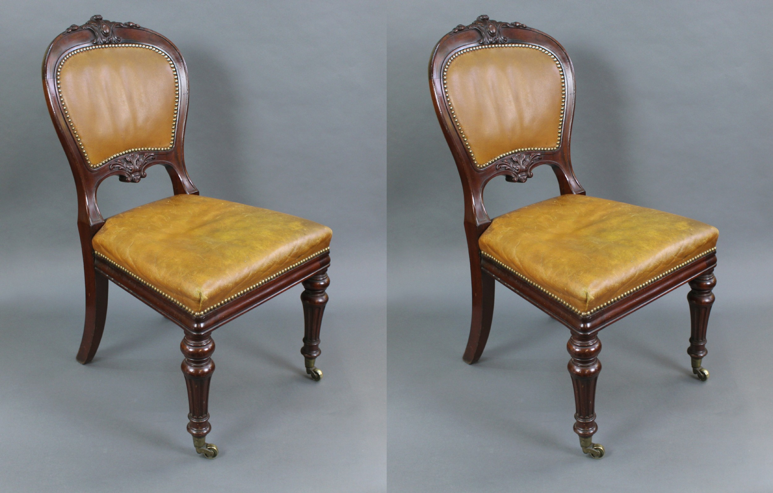 pair of mid 19th c gillow mahogany library chairs