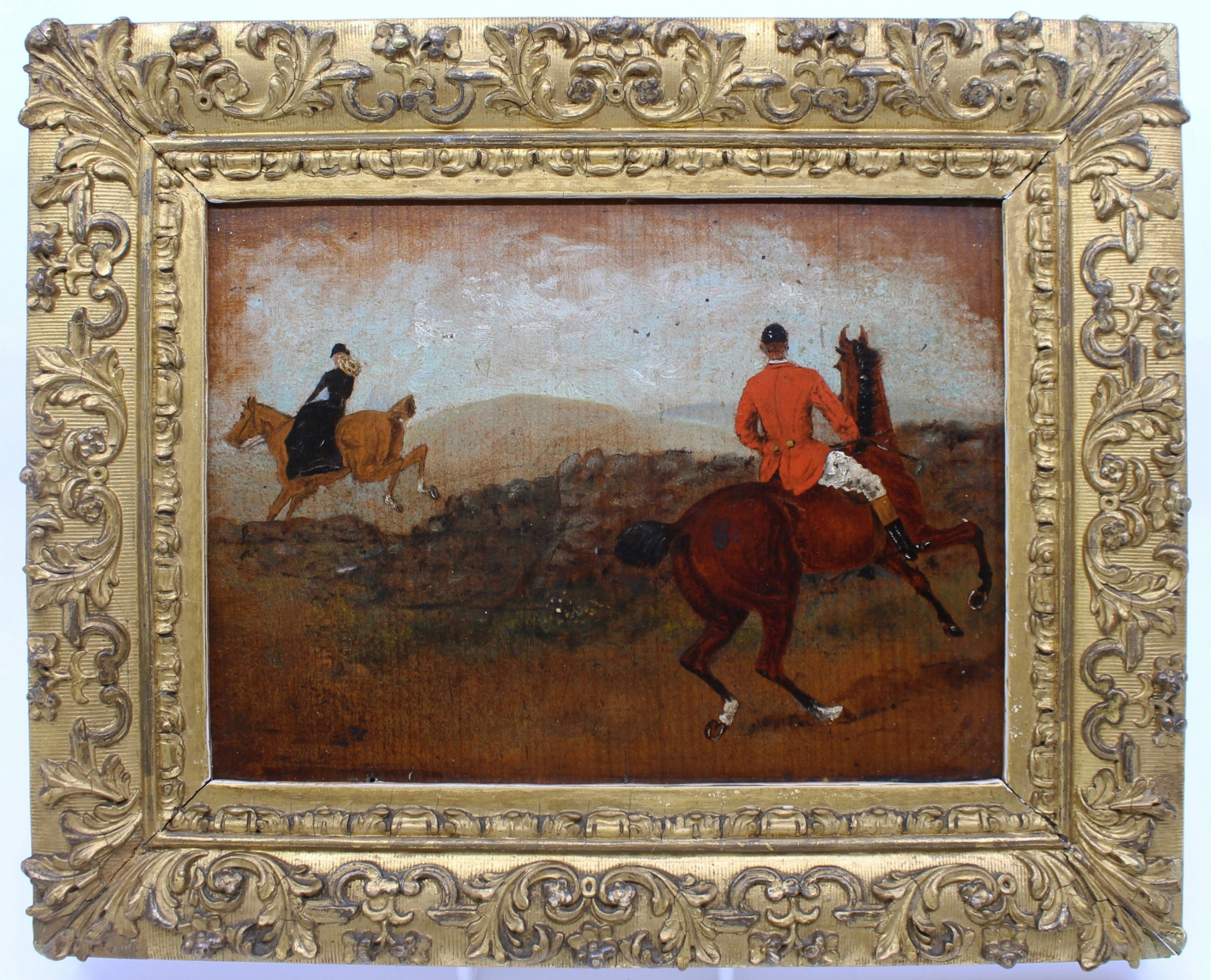 19th c english oil on board hunting painting affair leap