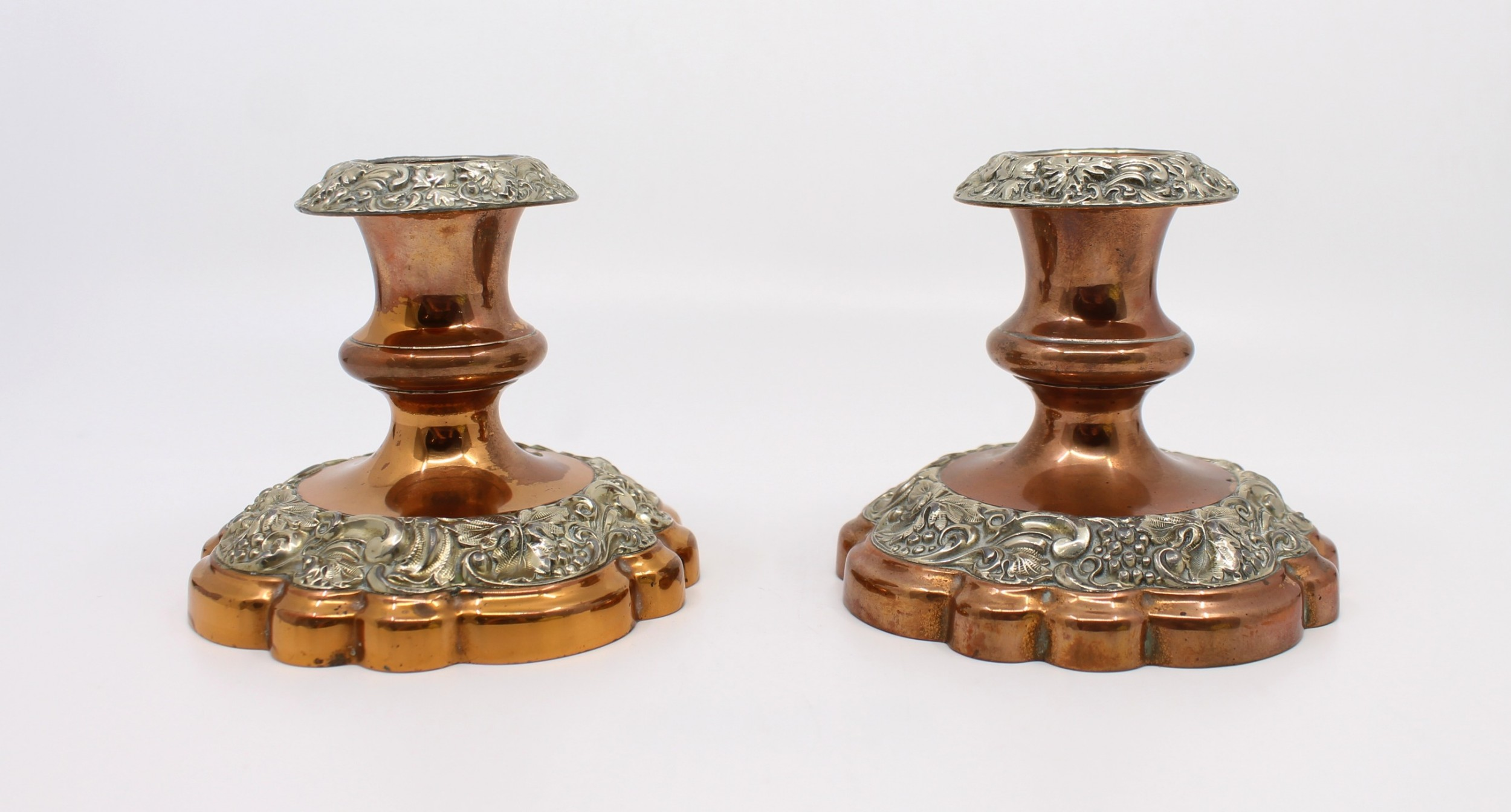 pair of early 19th c sheffield plate candlesticks