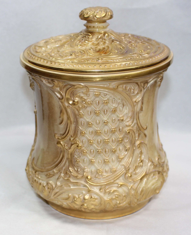 royal worcester gilded blush biscuilt jar cover 1901