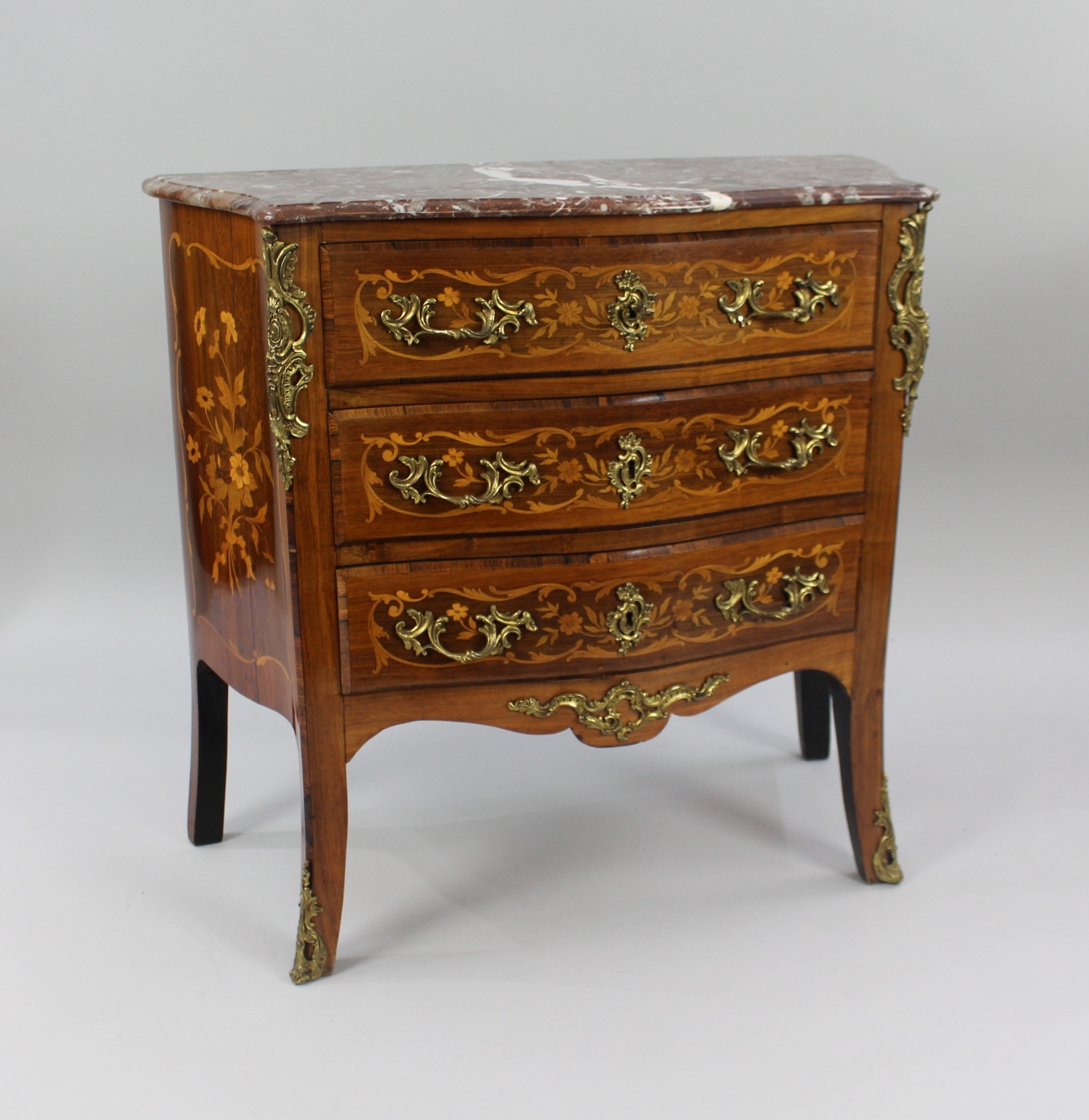 small french marble topped inlaid chest of drawers c1880