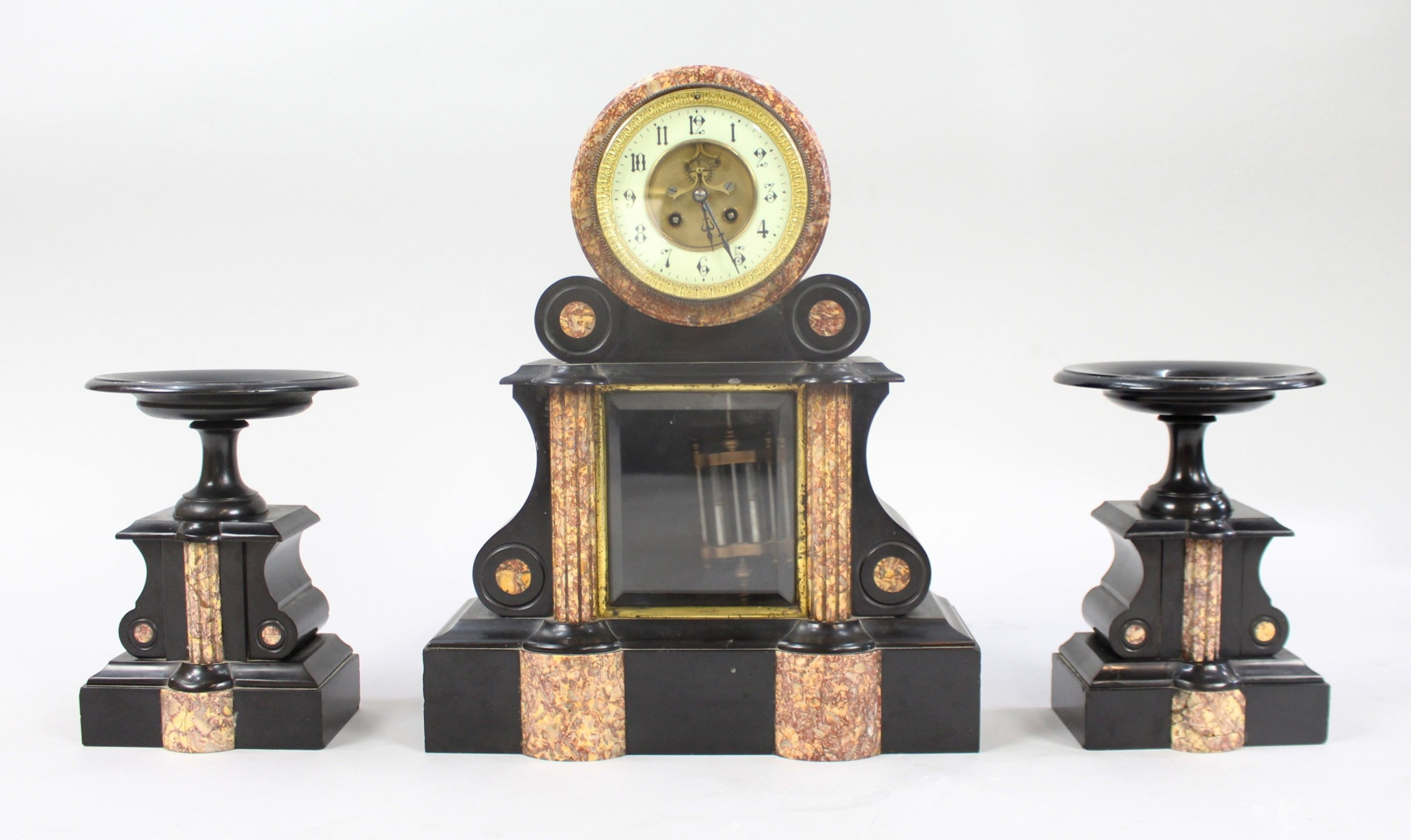 mid 19th c french japy freres black marble garniture clock set