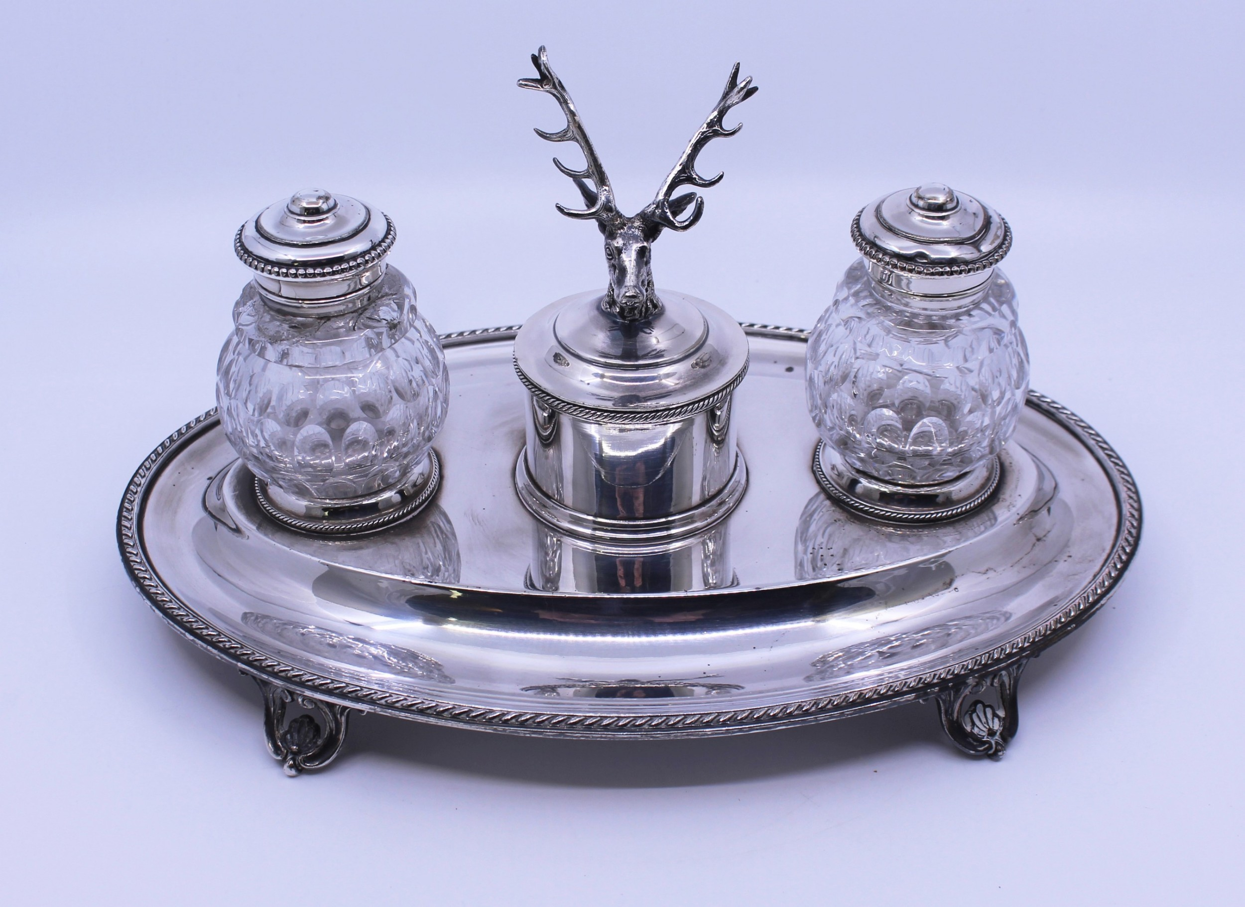 victorian silver plate cut glass inkwell