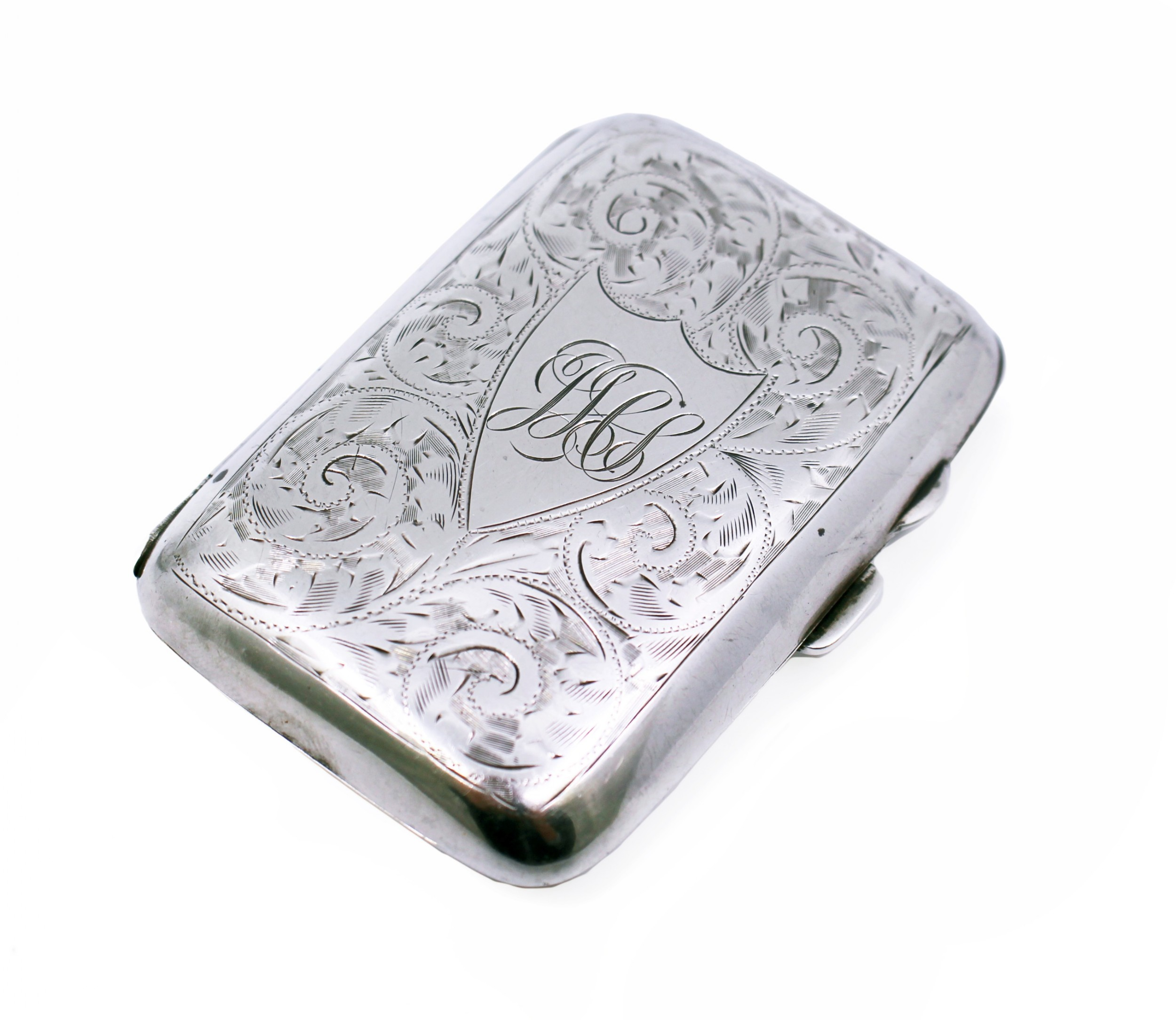 engraved solid silver early 20th c cigarette case