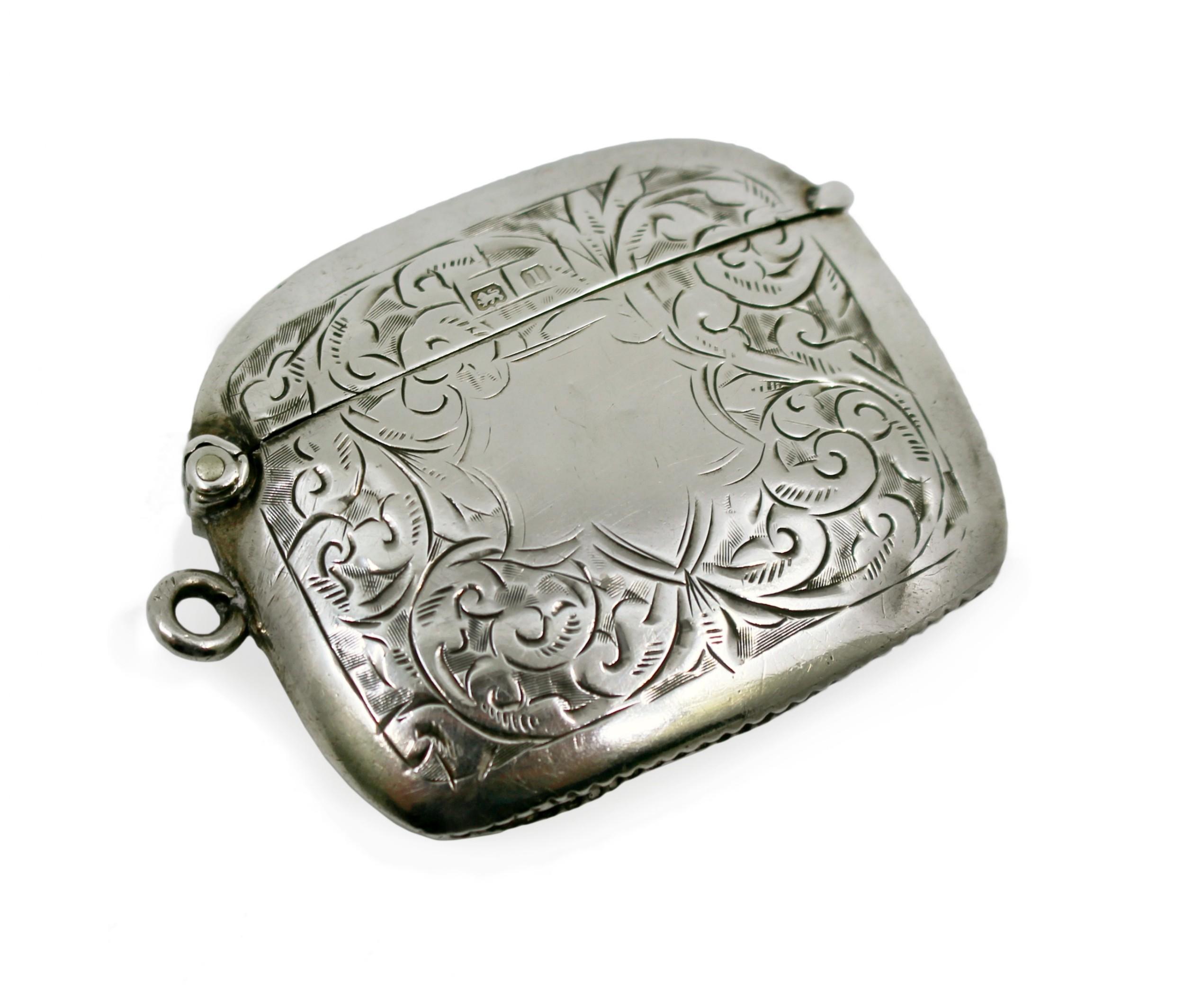 edwardian solid silver engraved match case birmingham 1910