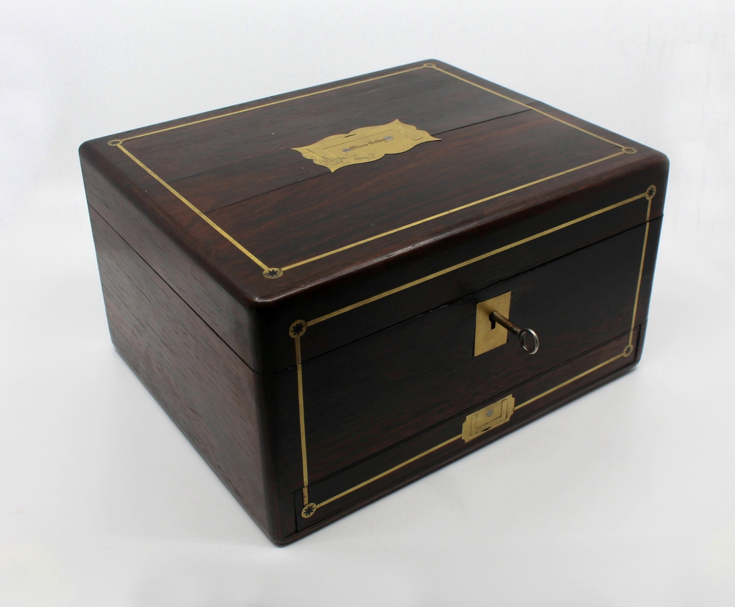 early 19th c brass inlaid rosewood writing box by william wilson edinburgh