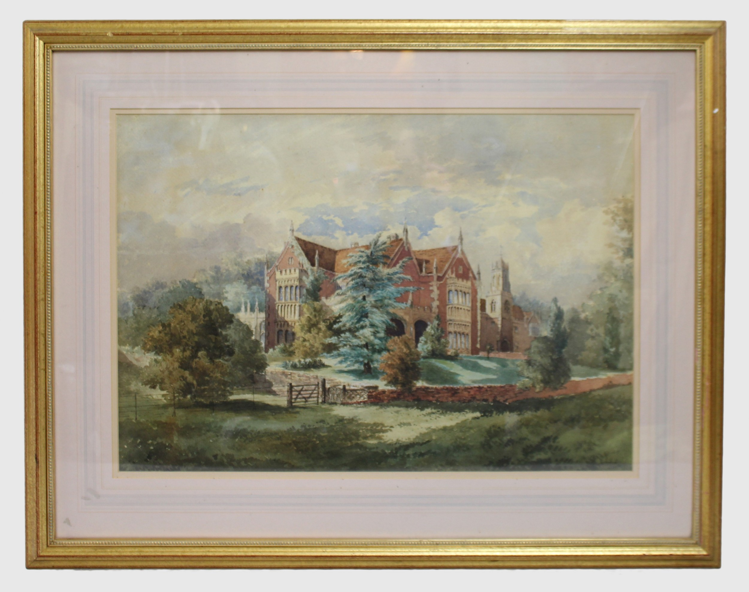 early 20th c watercolour of english stately home