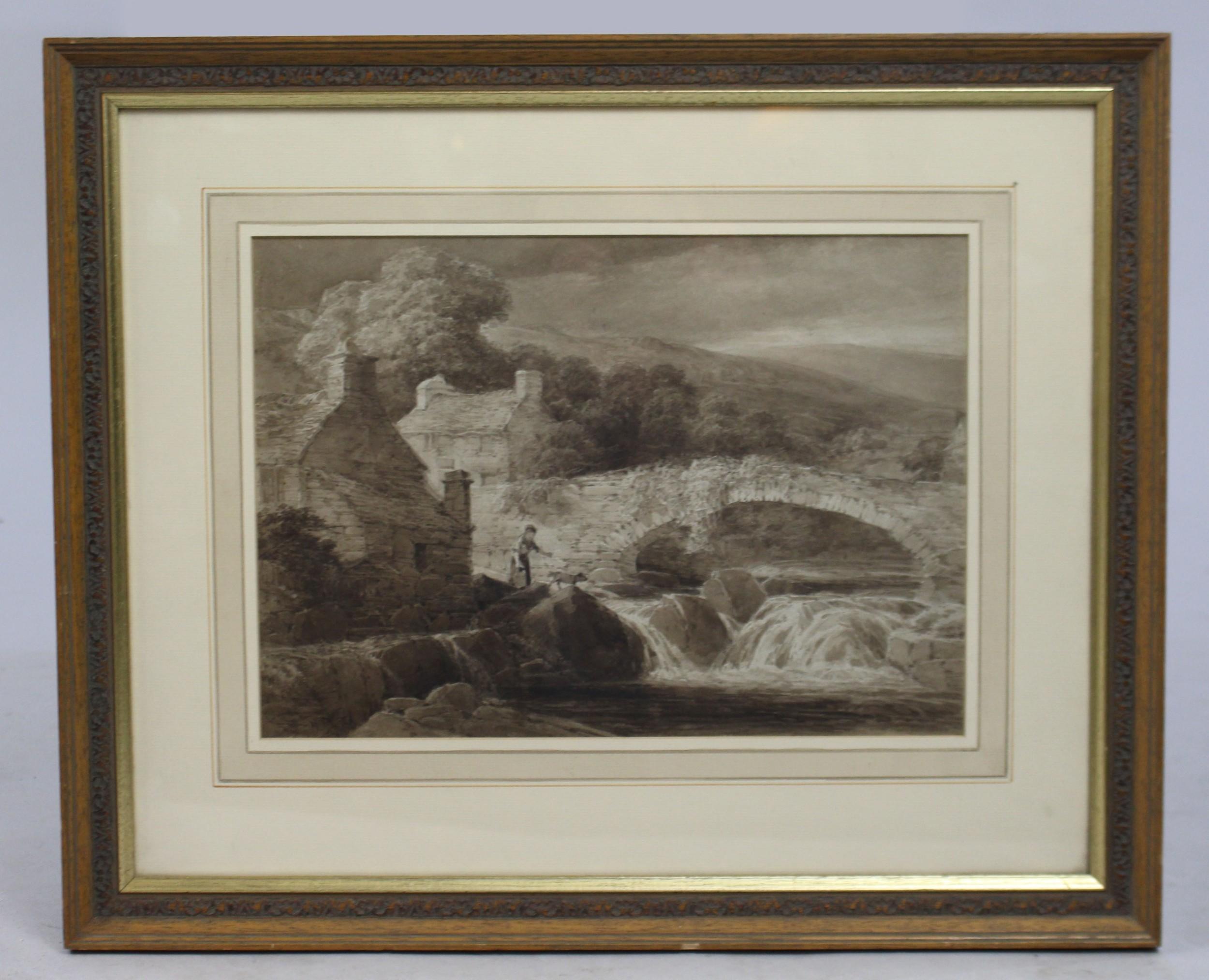 henry pope british18431908 monochrome watercolour cynwyd bridge
