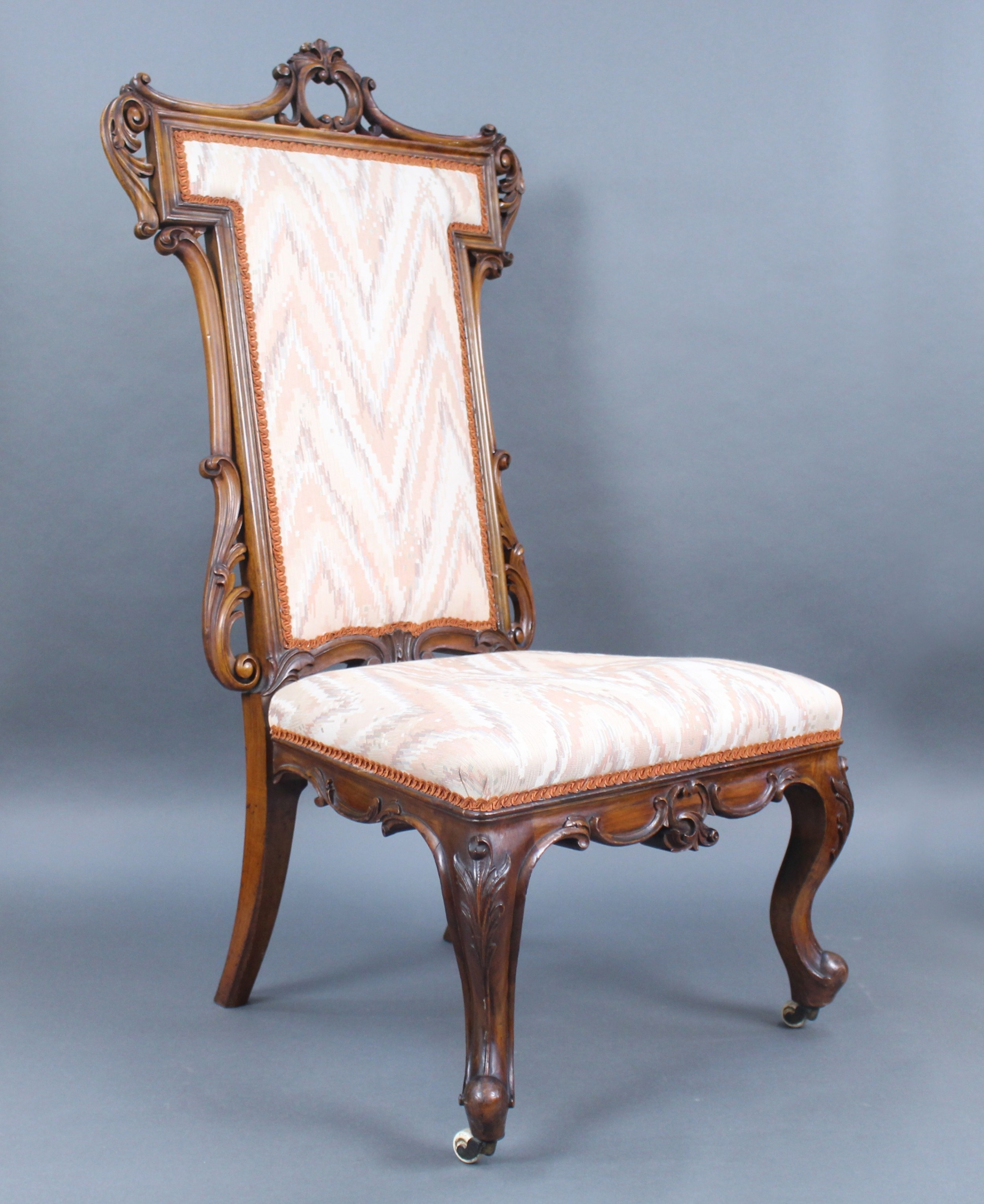 antique victorian carved walnut upholstered chair