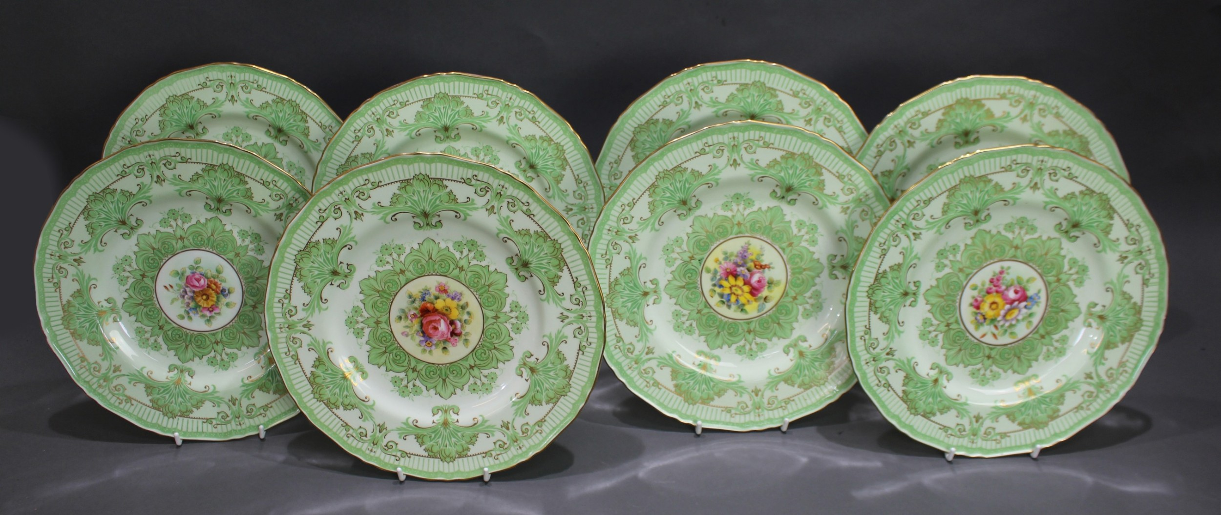 set of 8 hand decorated royal worcester cabinet plates 1933