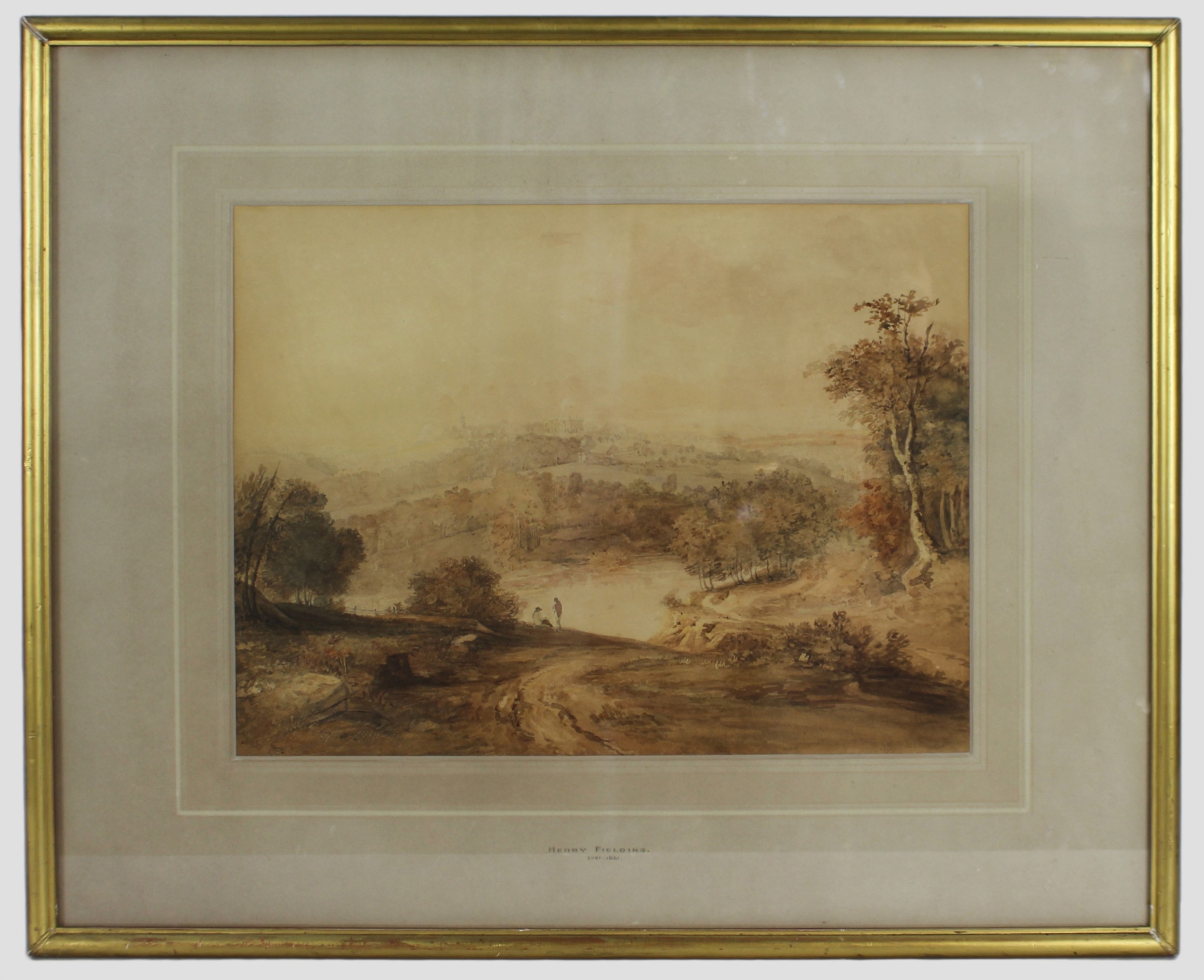 sepia landscape watercolour by henry fielding english 17811851