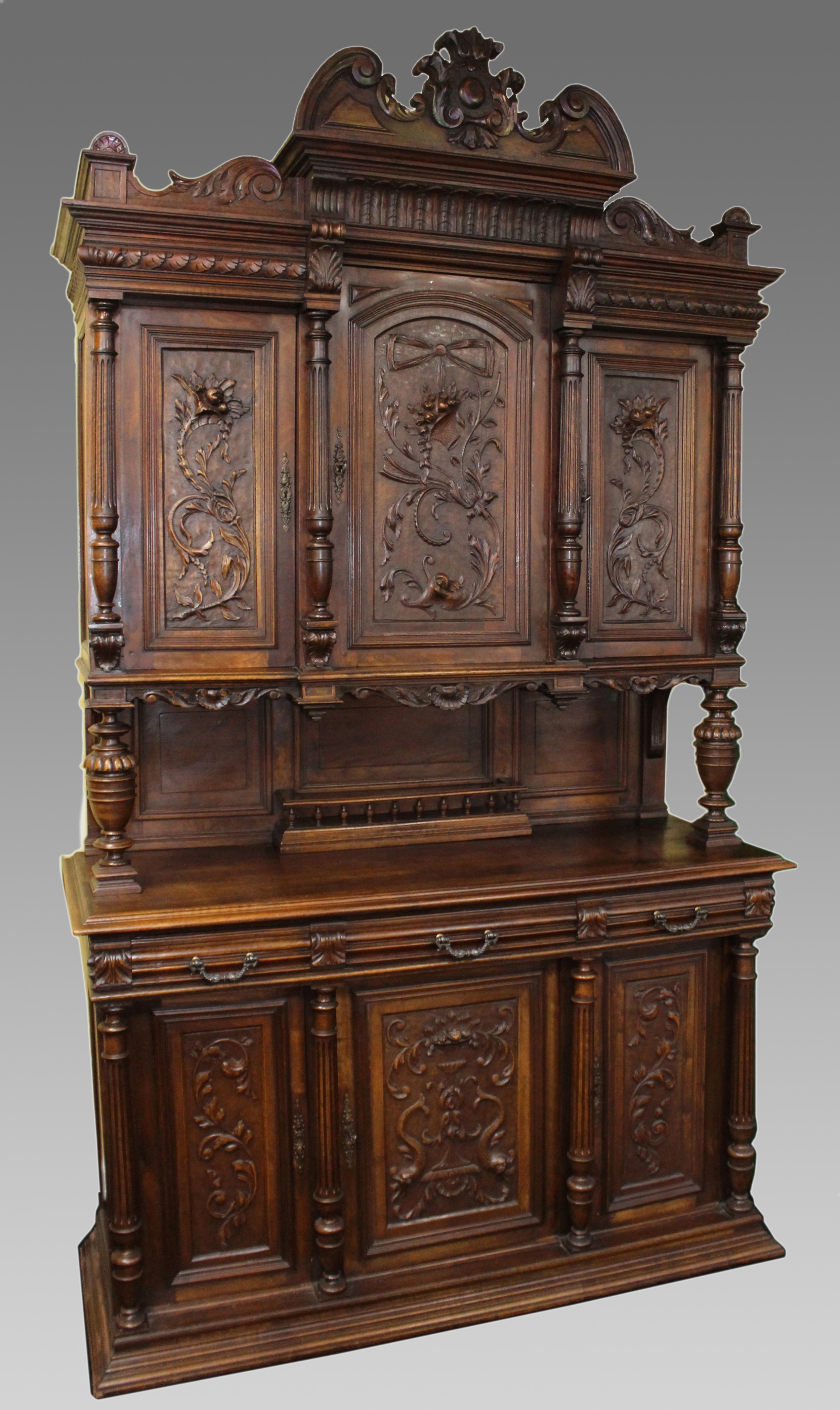 antique french carved walnut cabinet c1900