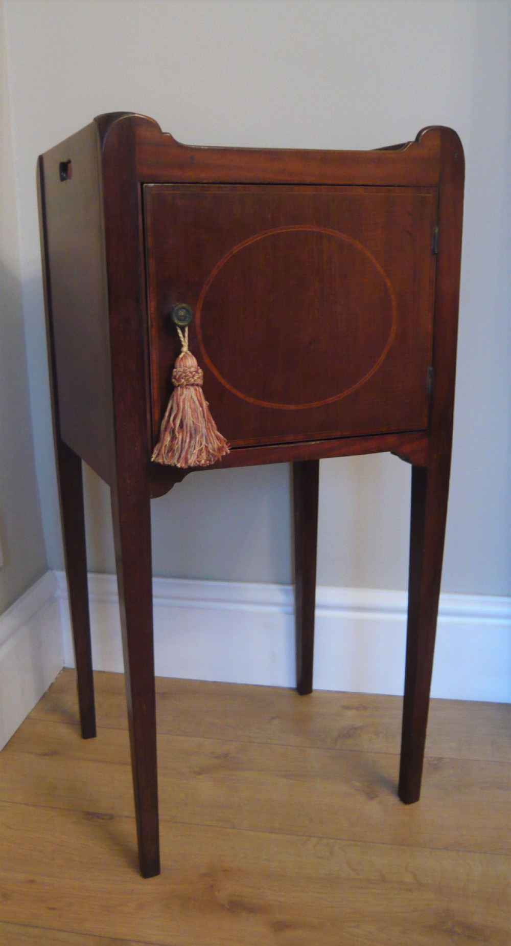 edwardian mahogany inlaid bedside cabinet night stand c1910