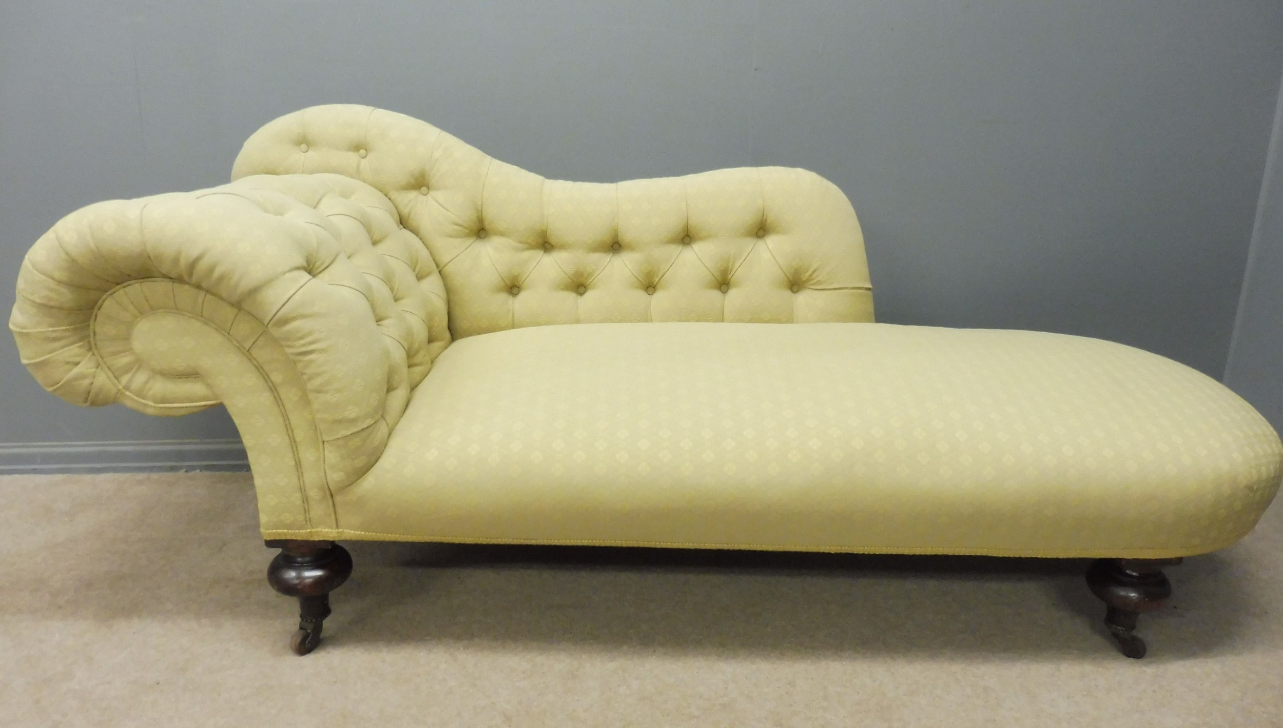 victorian chaise longue sumptuously upholstered in pale yellow
