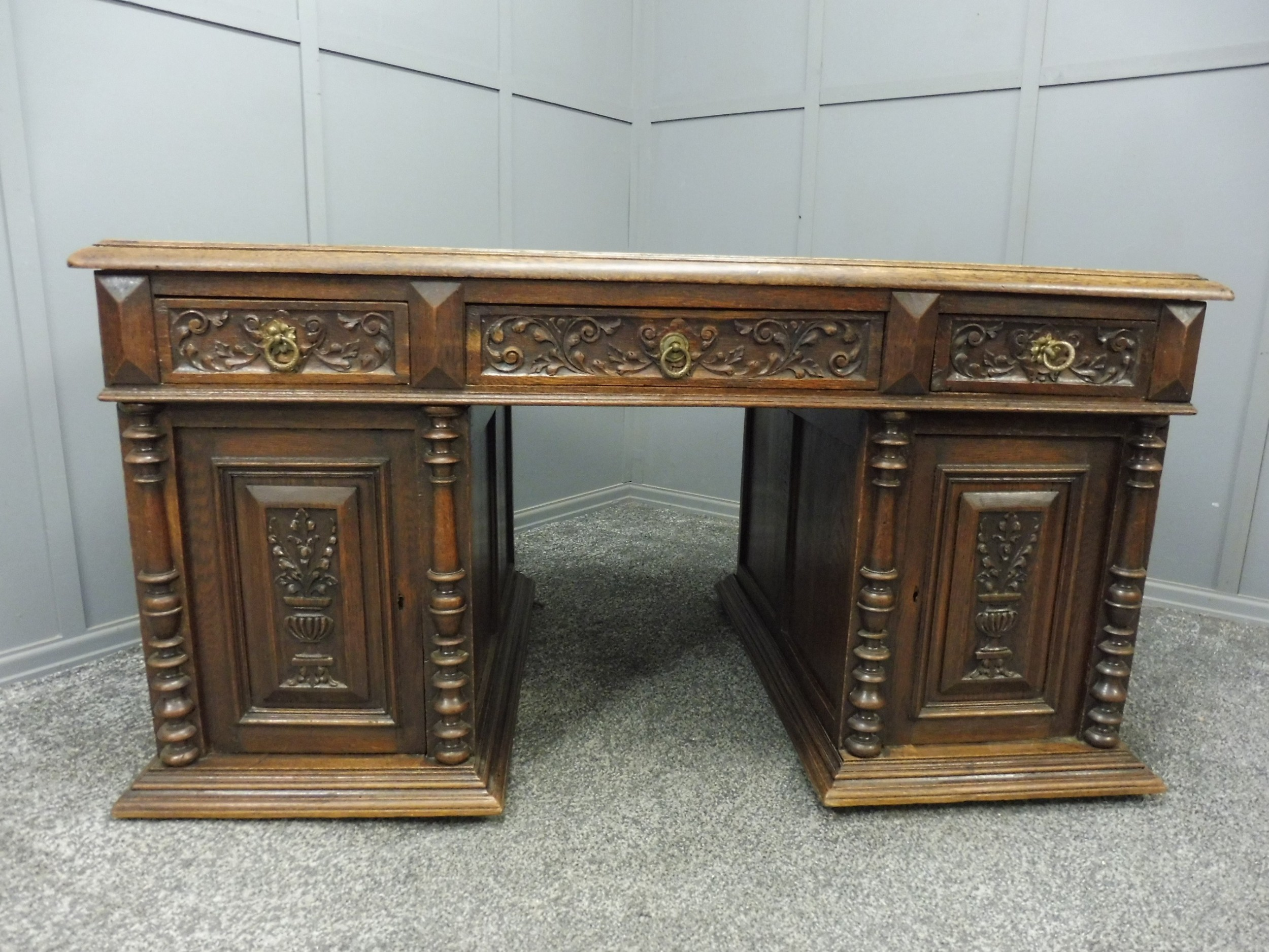 victorian carved oak partners desk