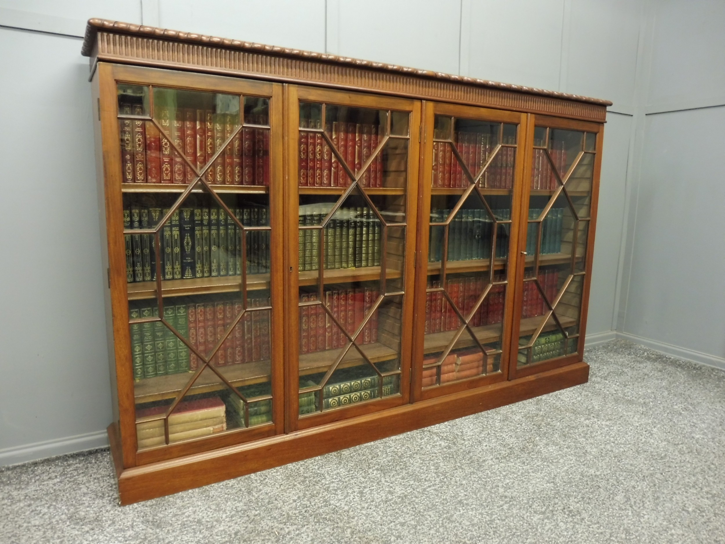 edwardian mahogany four door bookcase