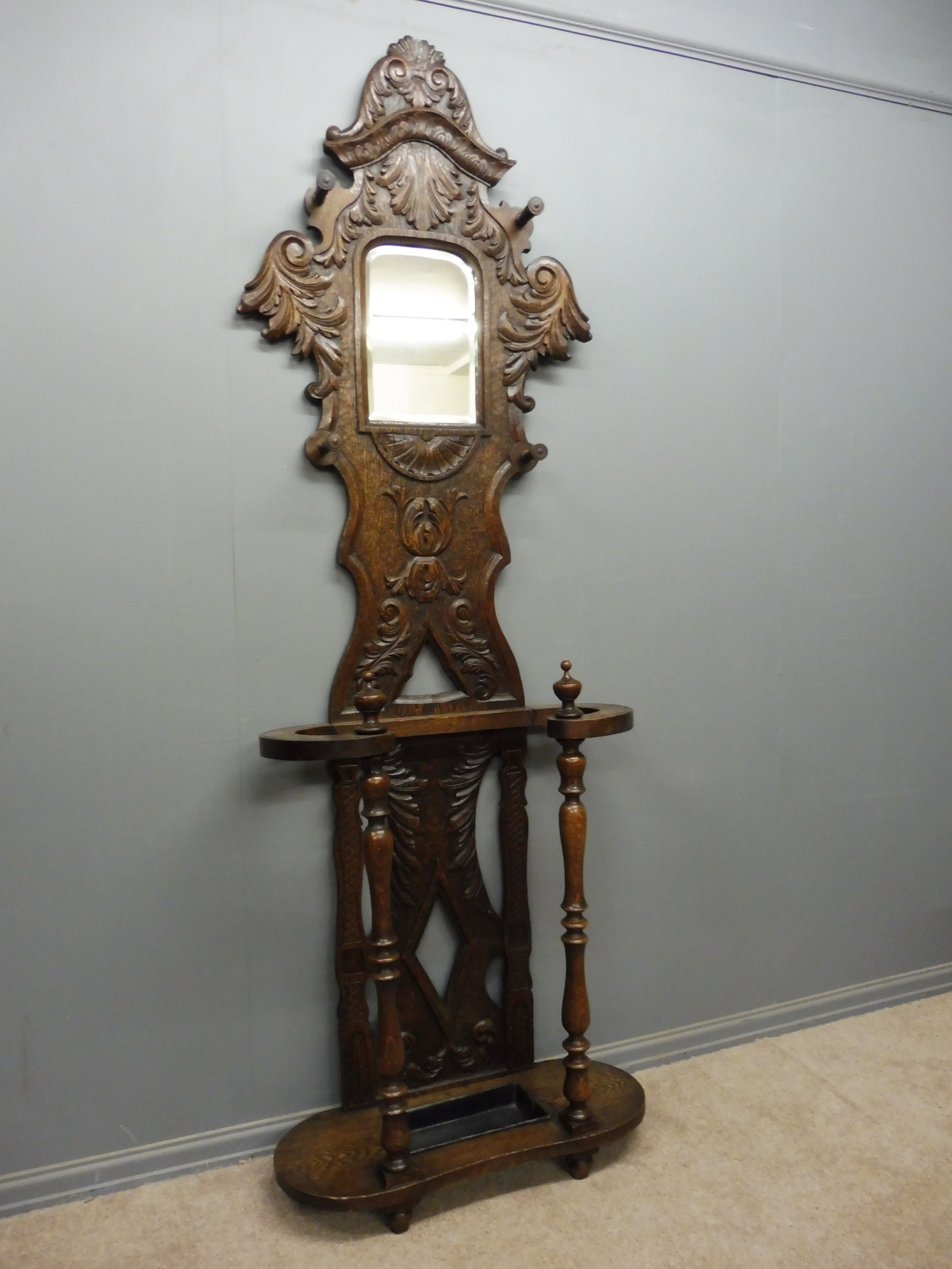19th century carved oak hallstand