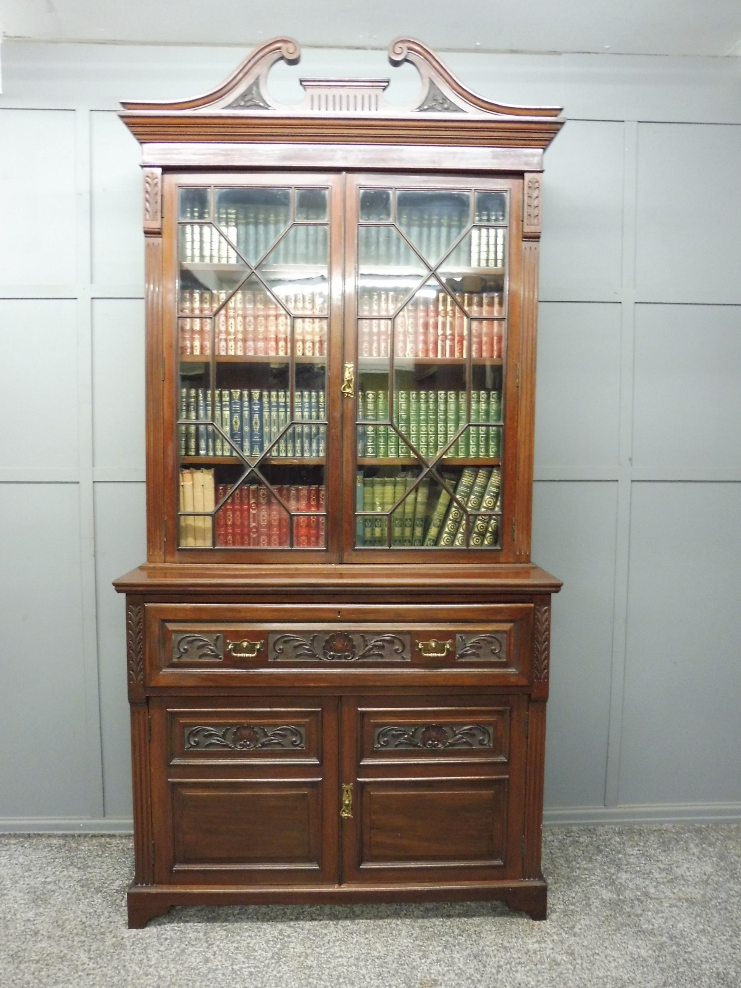 fine quality victorian mahogany secretaire bookcase