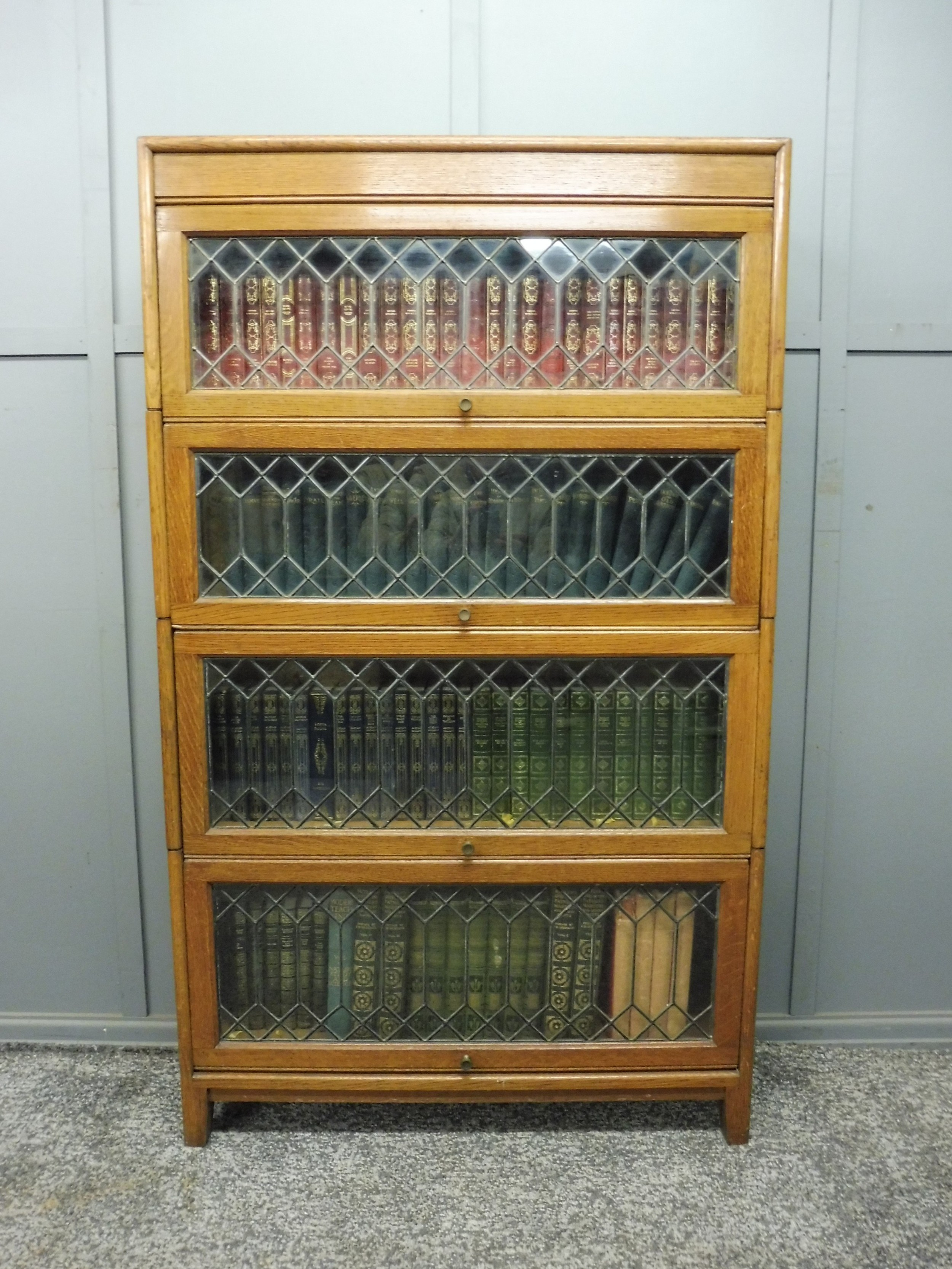 golden oak barristers stacking bookcase with leaded glass doors
