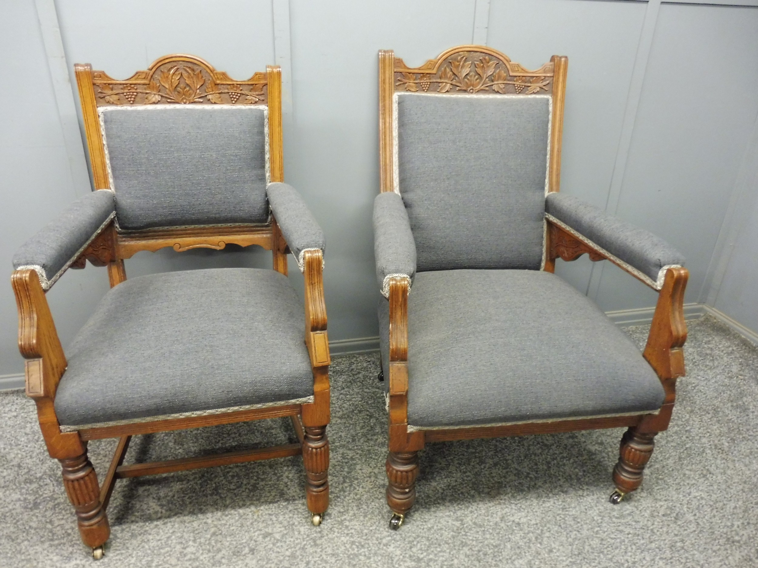 excellent quality pair of oak ladies and gents victorian armchairs