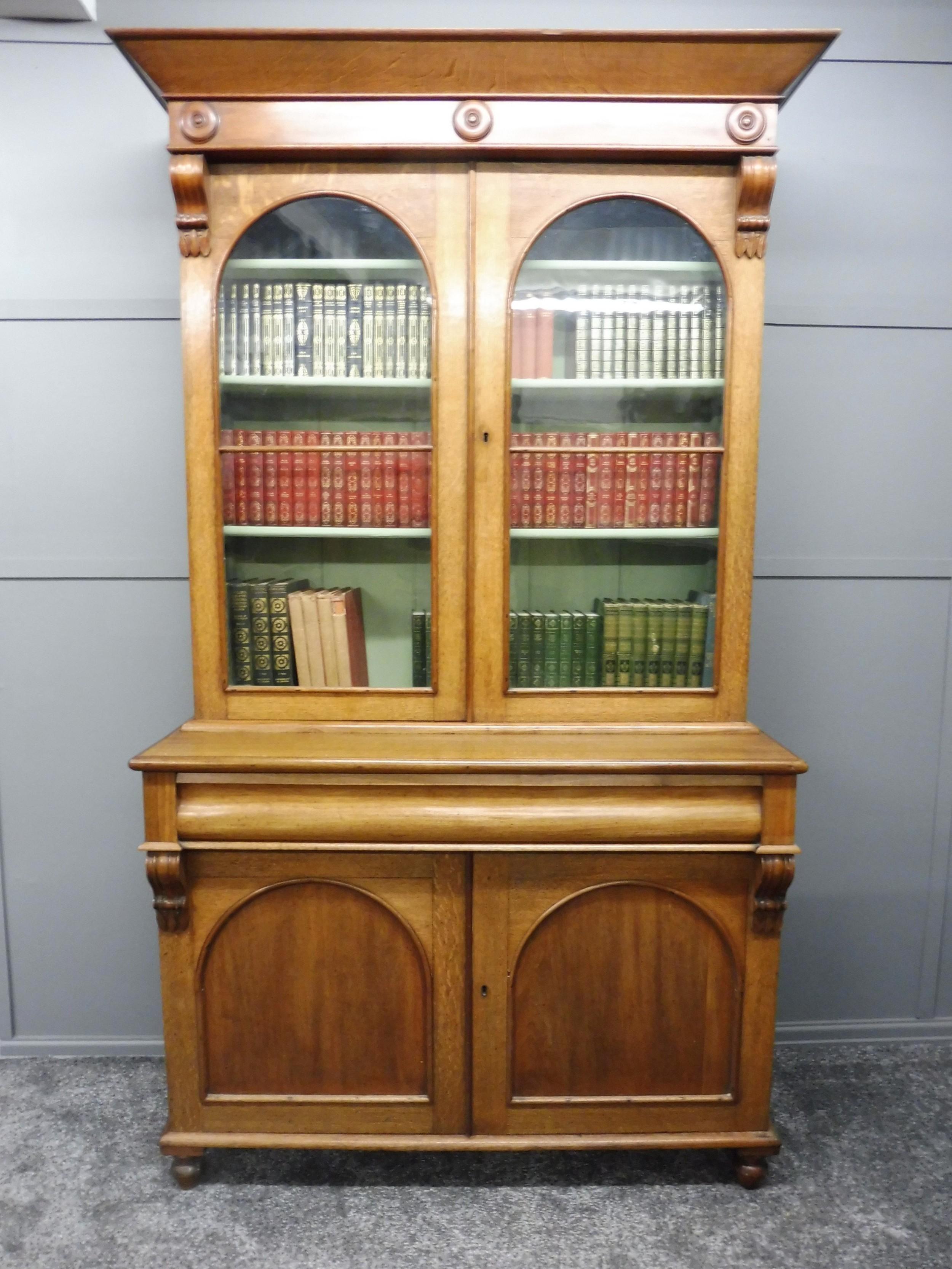 19th century oak and mahogany bookcase