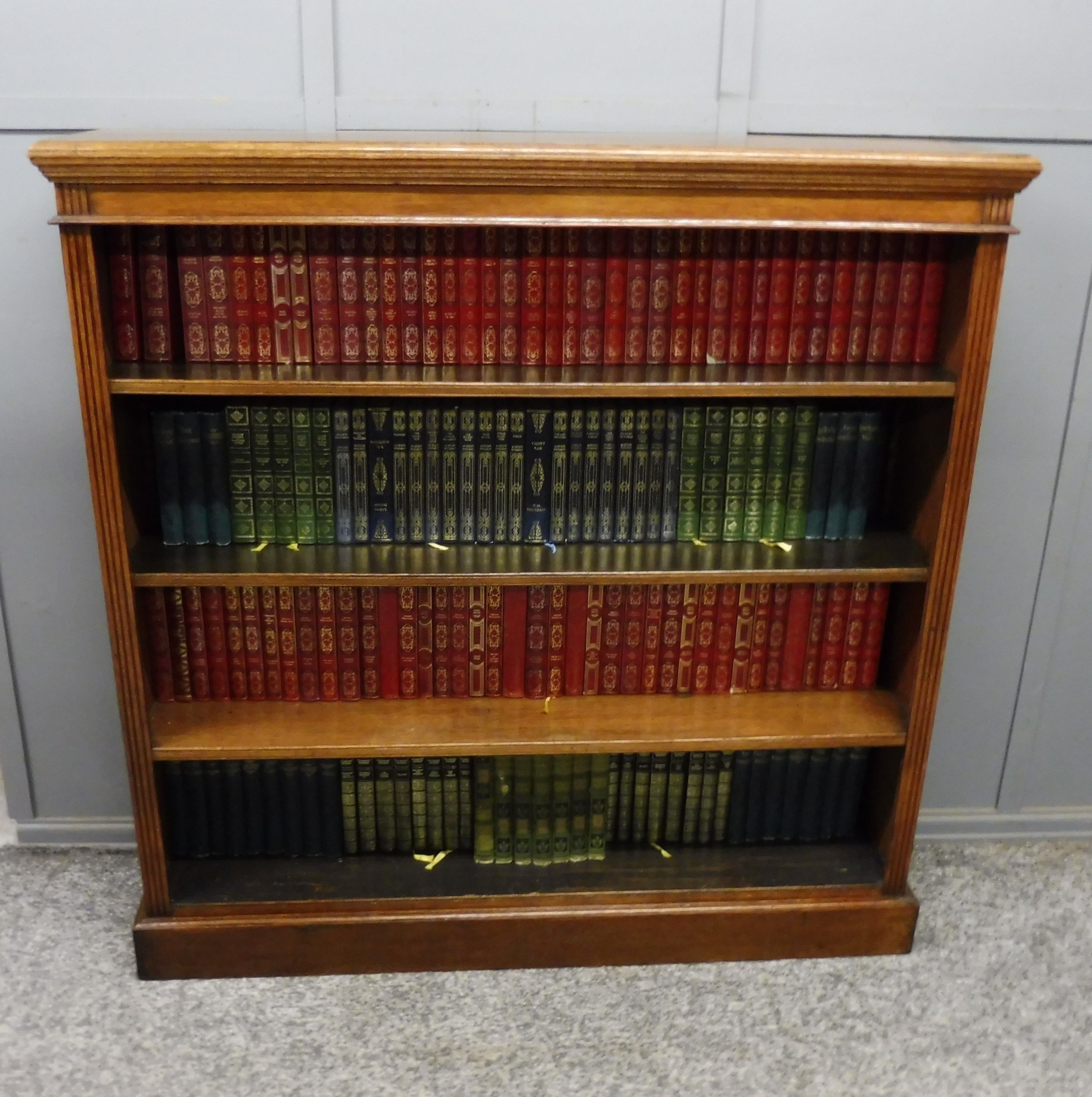 victorian golden oak open bookcase