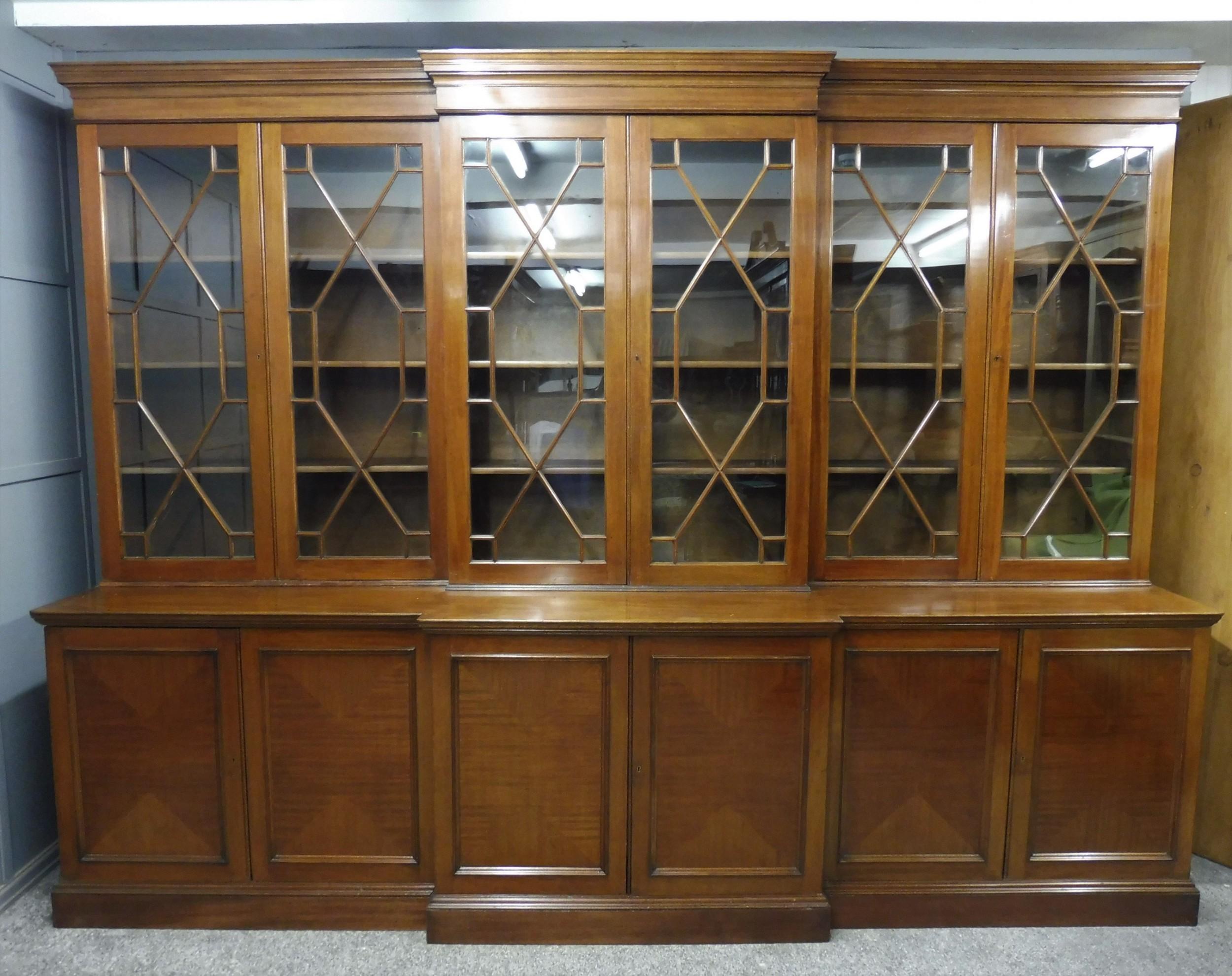 very large mahogany georgian style university bookcase