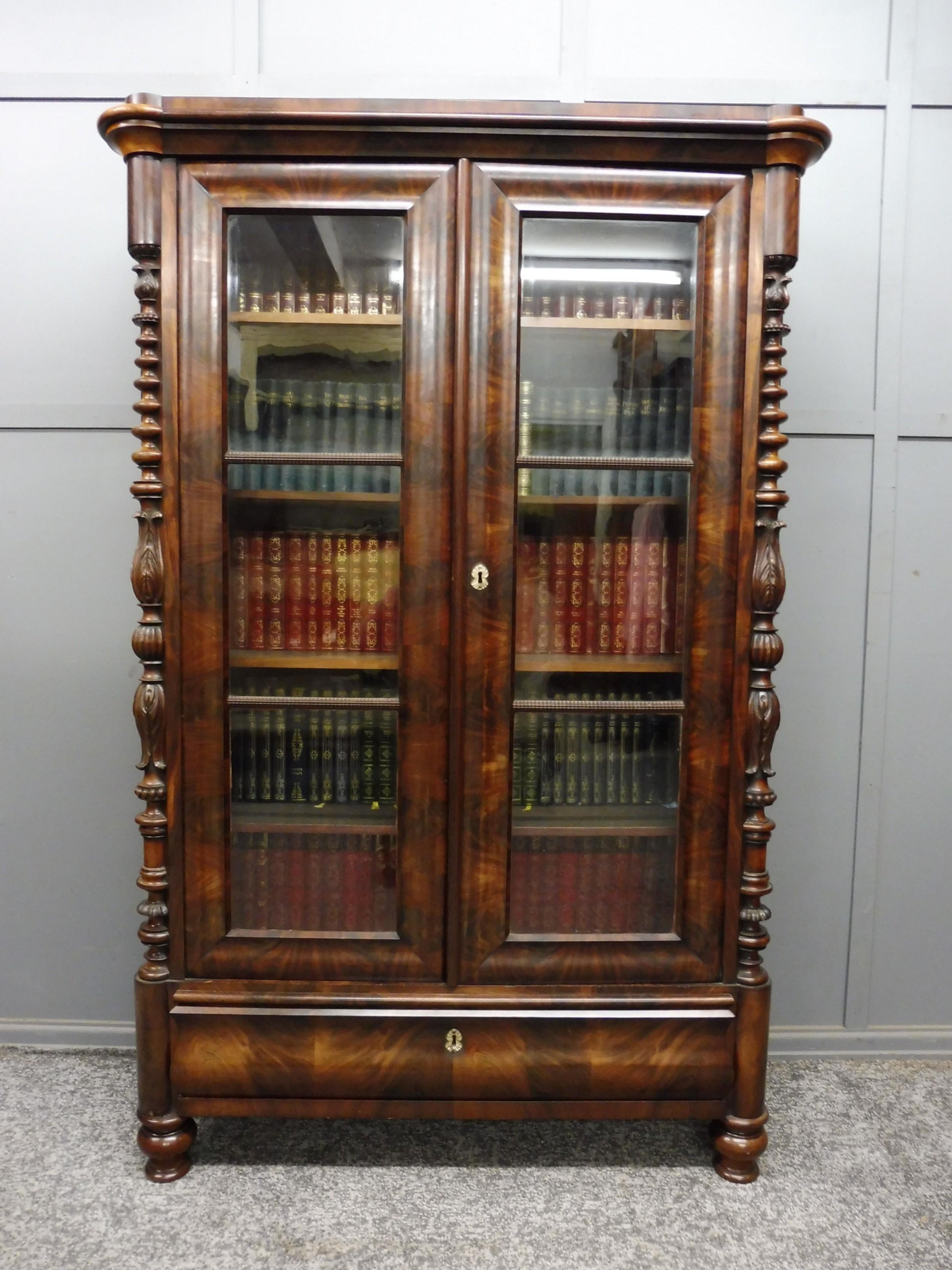 victorian mahogany biedermeier bookcase