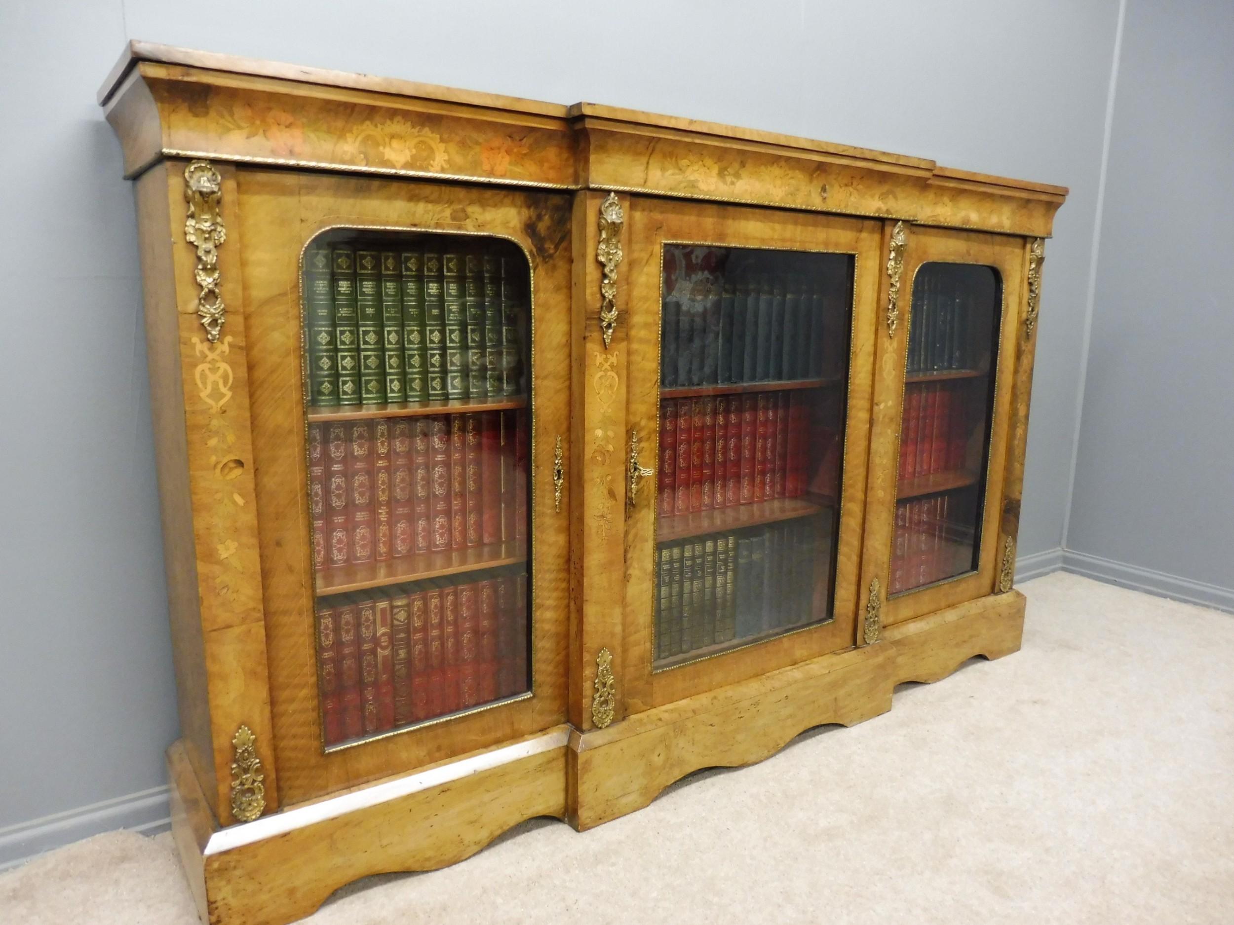 victorian figured walnut breakfront bookcase