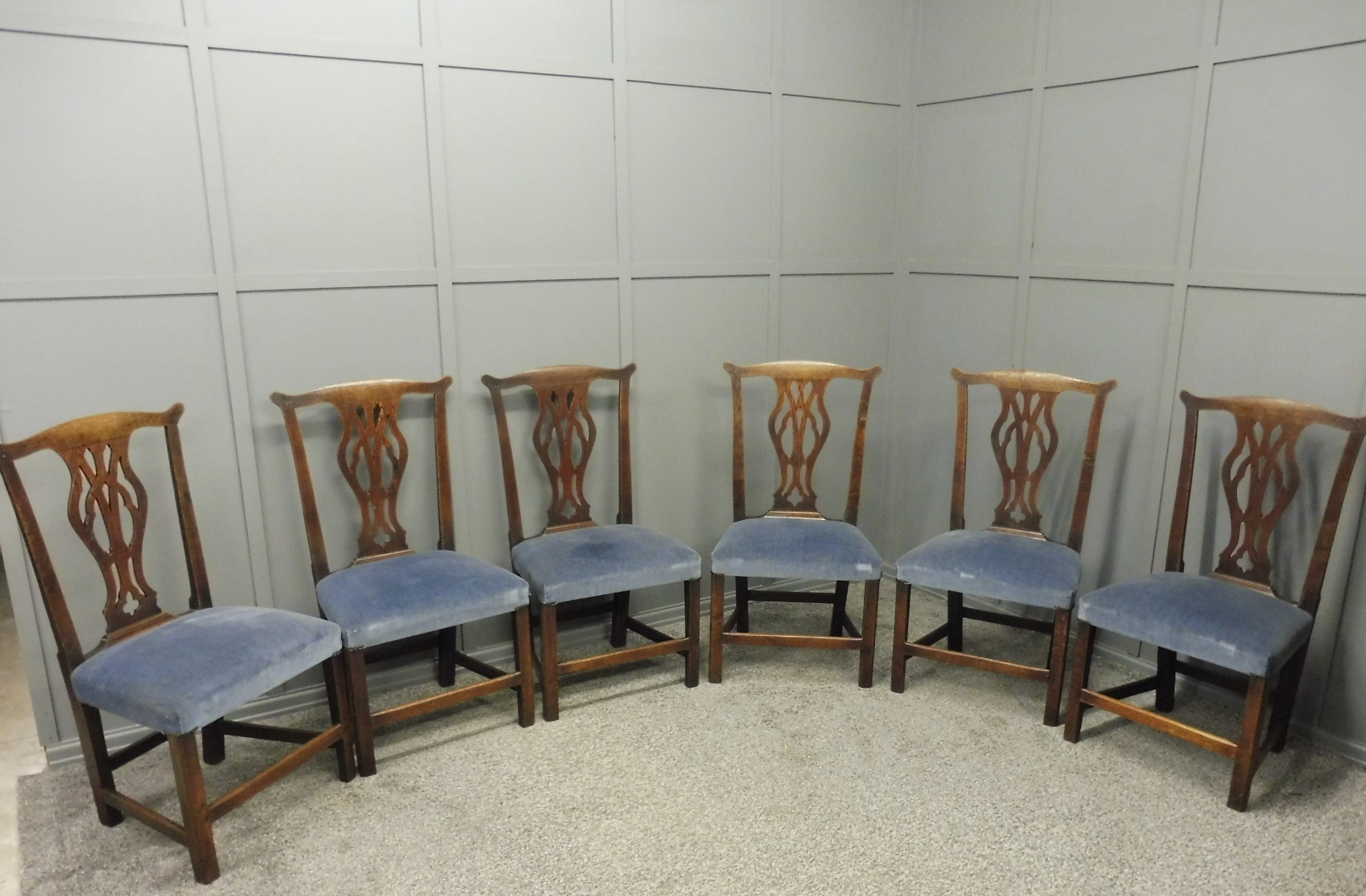 set of six george 111 oak country dining chairs